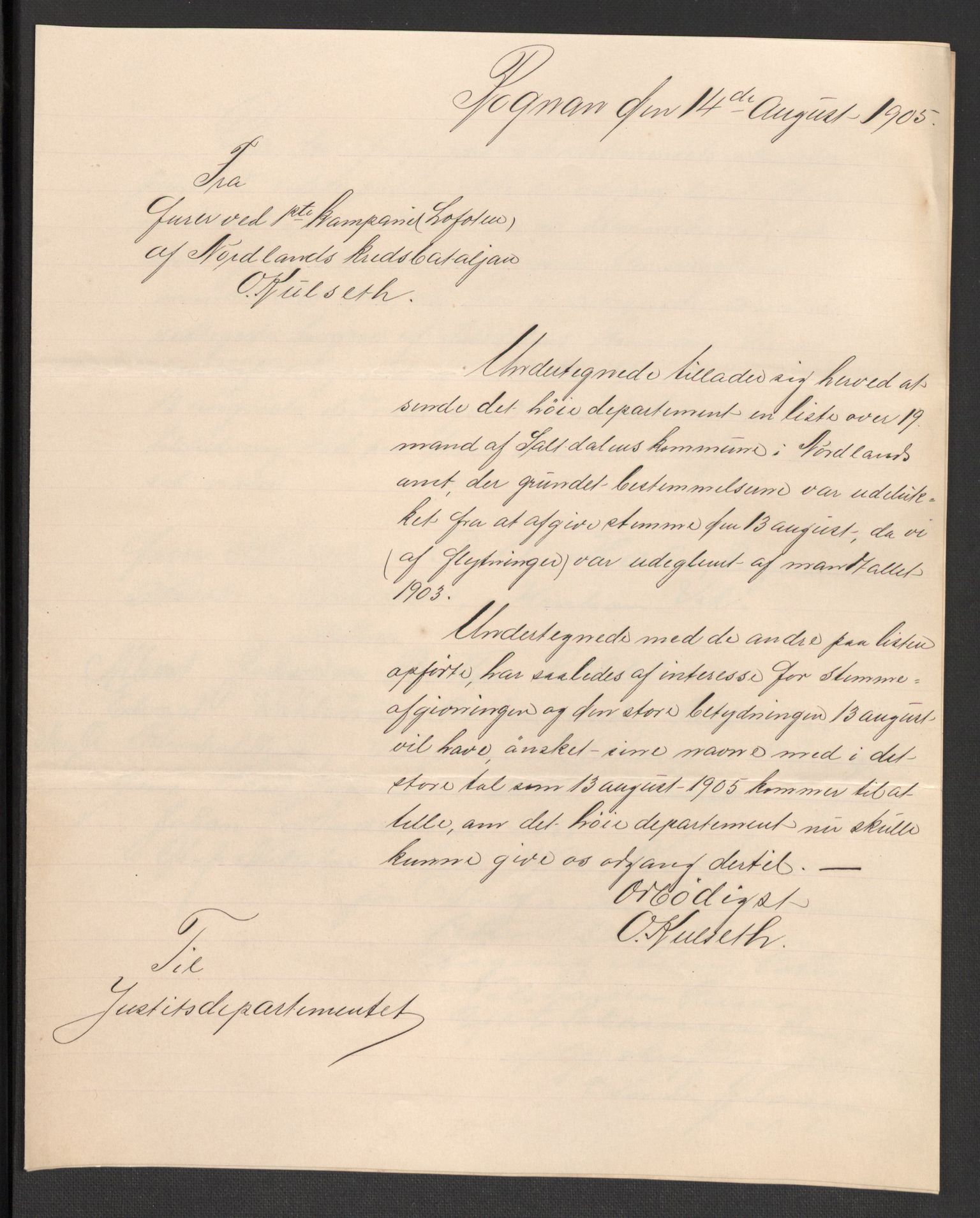 RA, Justisdepartementet, 2. sivilkontor C, F/L0125B: Folkeavstemmingen august 1905, 1905, s. 98