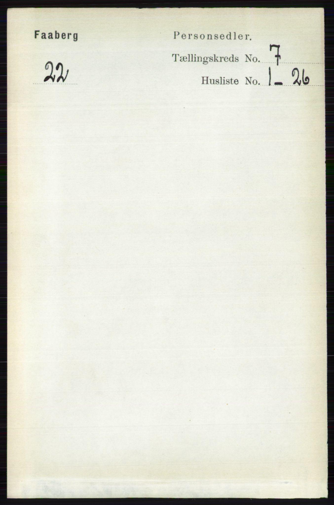 RA, Folketelling 1891 for 0524 Fåberg herred, 1891, s. 2781