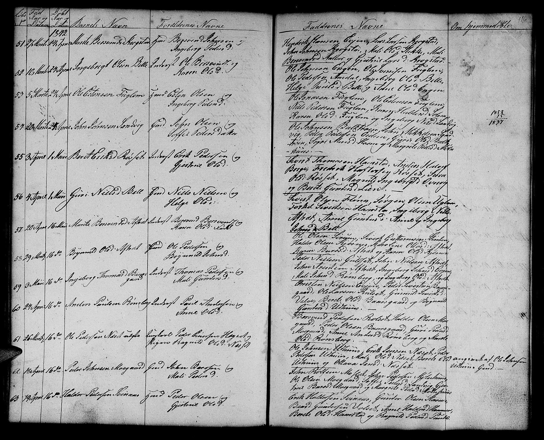 SAT, Ministerialprotokoller, klokkerbøker og fødselsregistre - Sør-Trøndelag, 695/L1154: Klokkerbok nr. 695C05, 1842-1858, s. 116