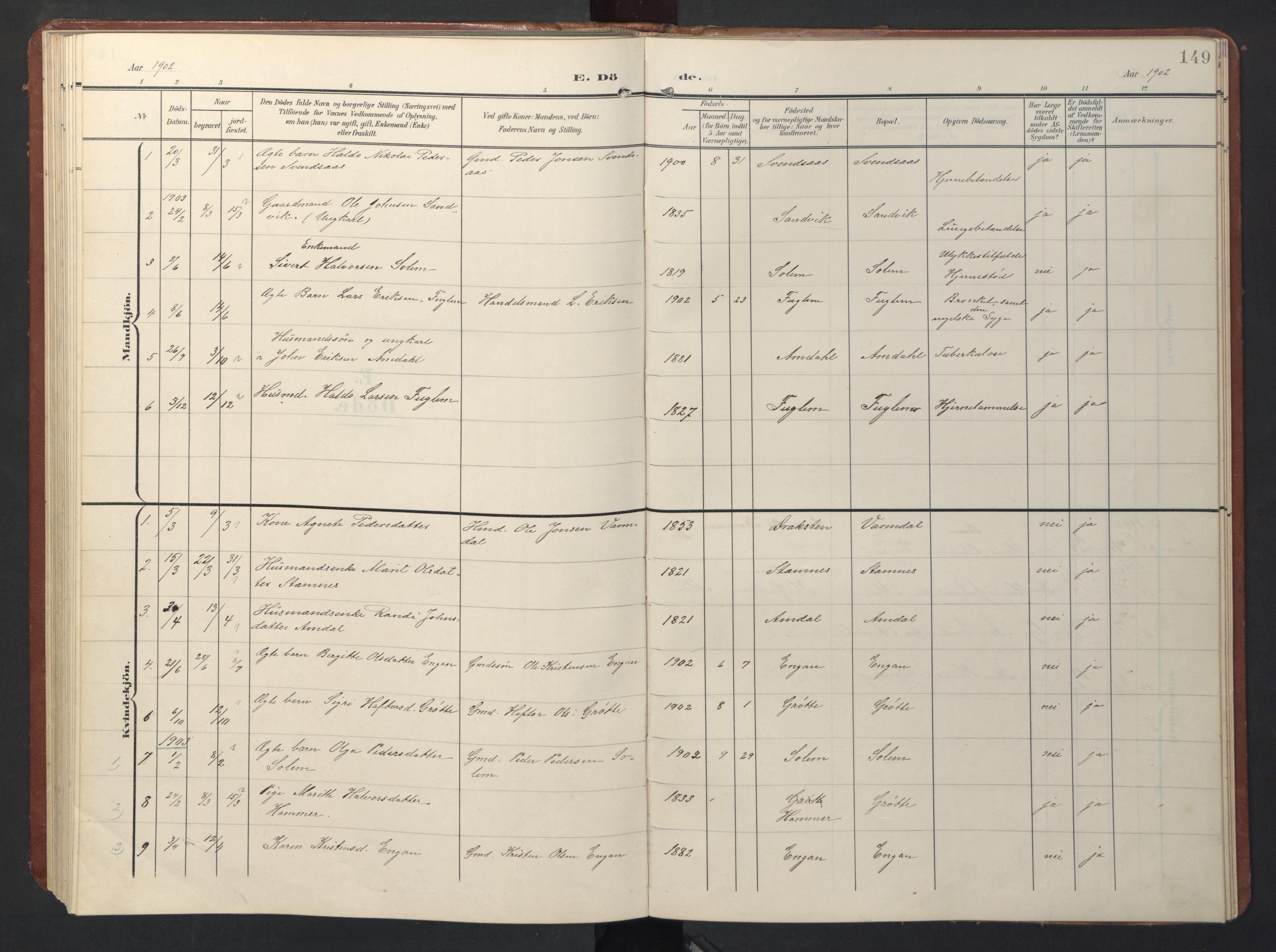 SAT, Ministerialprotokoller, klokkerbøker og fødselsregistre - Sør-Trøndelag, 696/L1161: Klokkerbok nr. 696C01, 1902-1950, s. 149