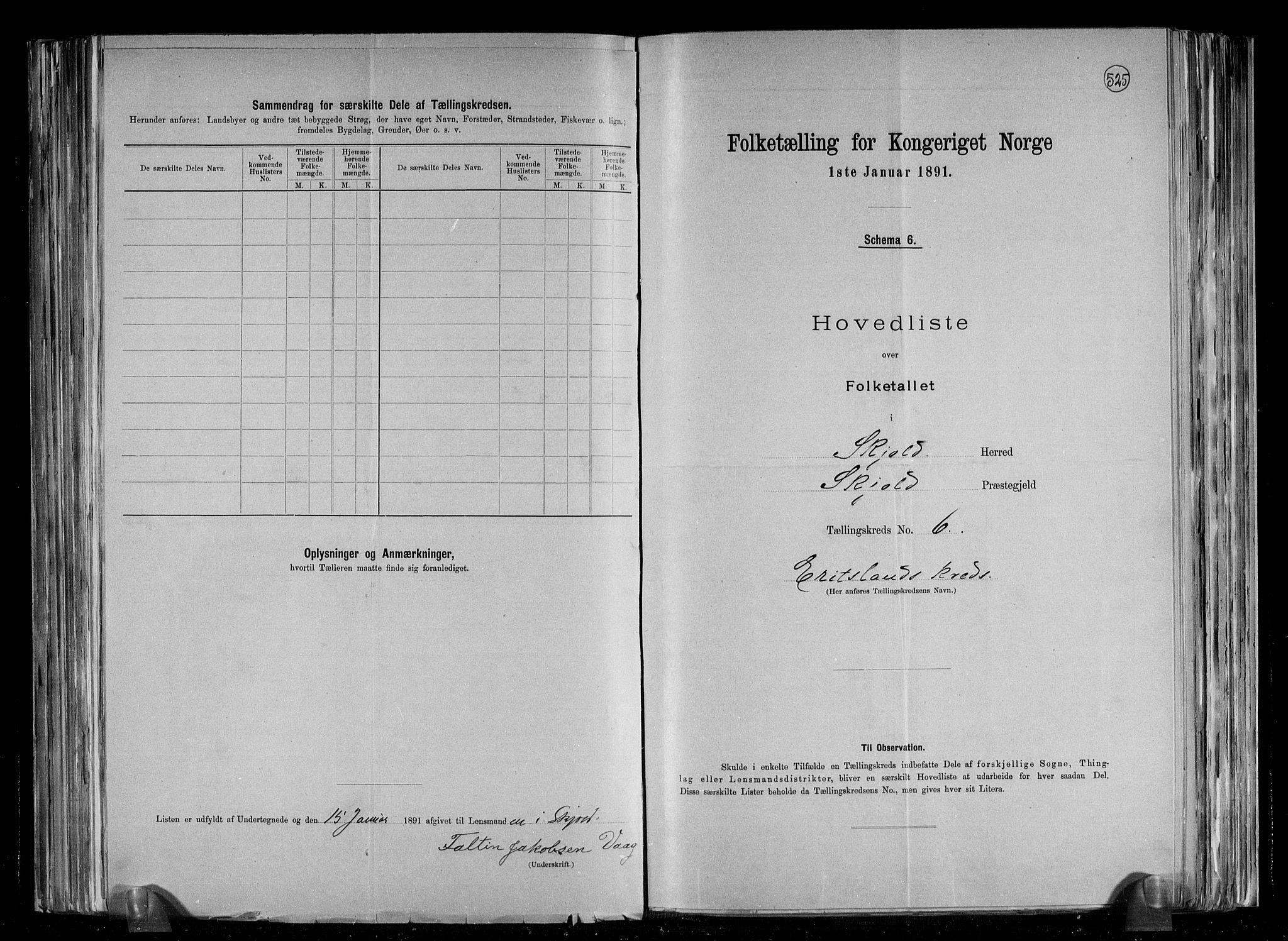 RA, Folketelling 1891 for 1154 Skjold herred, 1891, s. 15