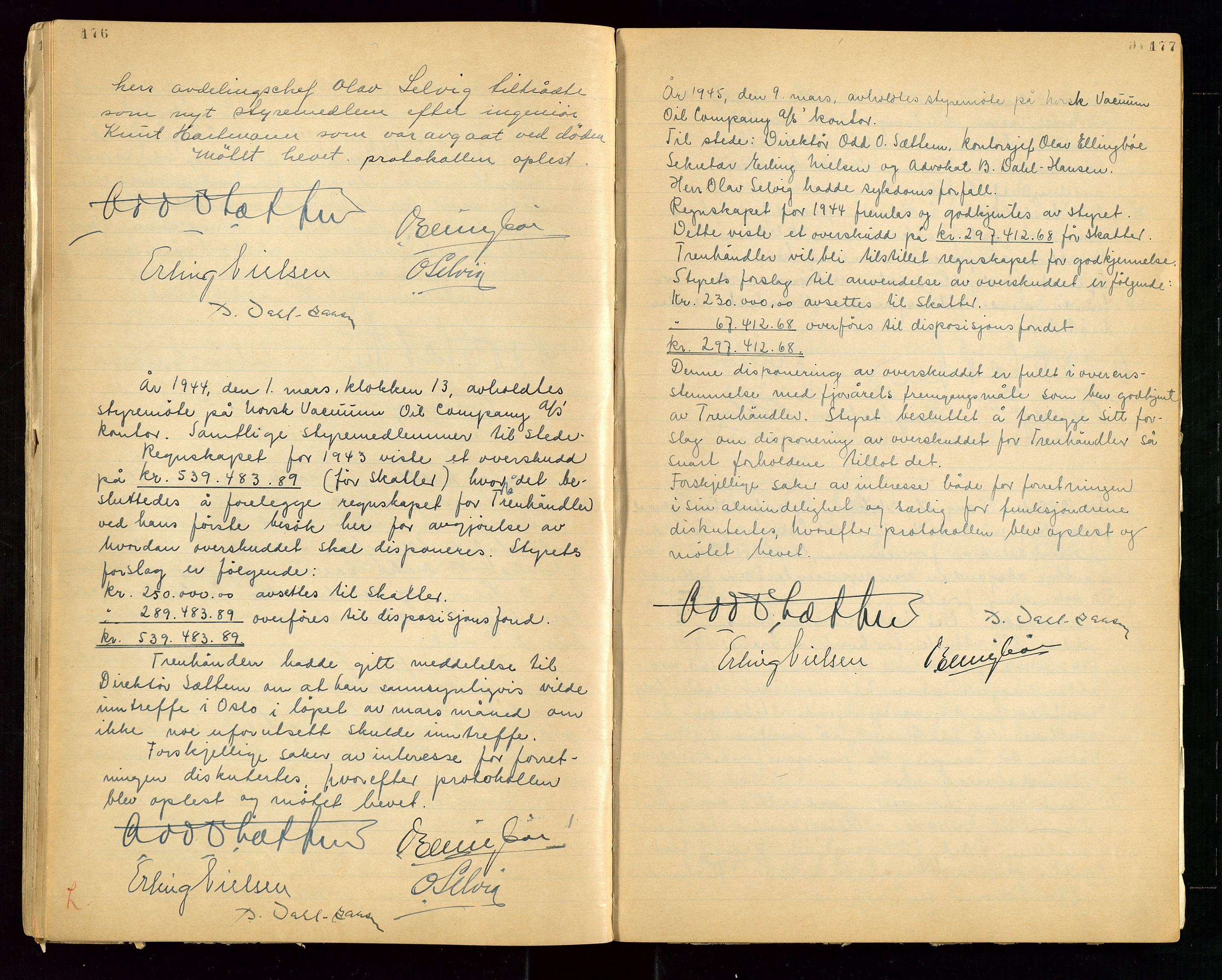 """SAST, PA 1513 - Norsk Vacuum Oil Company A/S, A/L0001: """"Generalforsamlings og styreprotokoll"""" fra 27/4-1918 til 6/4-1949, 1918-1949, s. 176-177"""