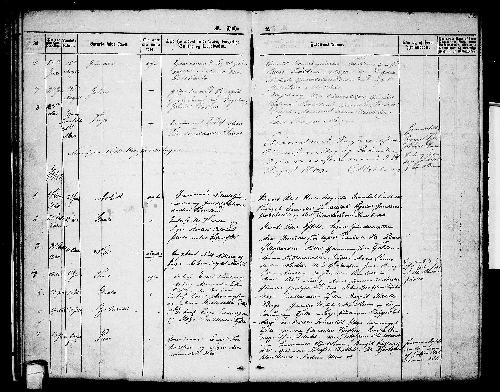 SAKO, Lårdal kirkebøker, G/Gc/L0002: Klokkerbok nr. III 2, 1852-1877, s. 32