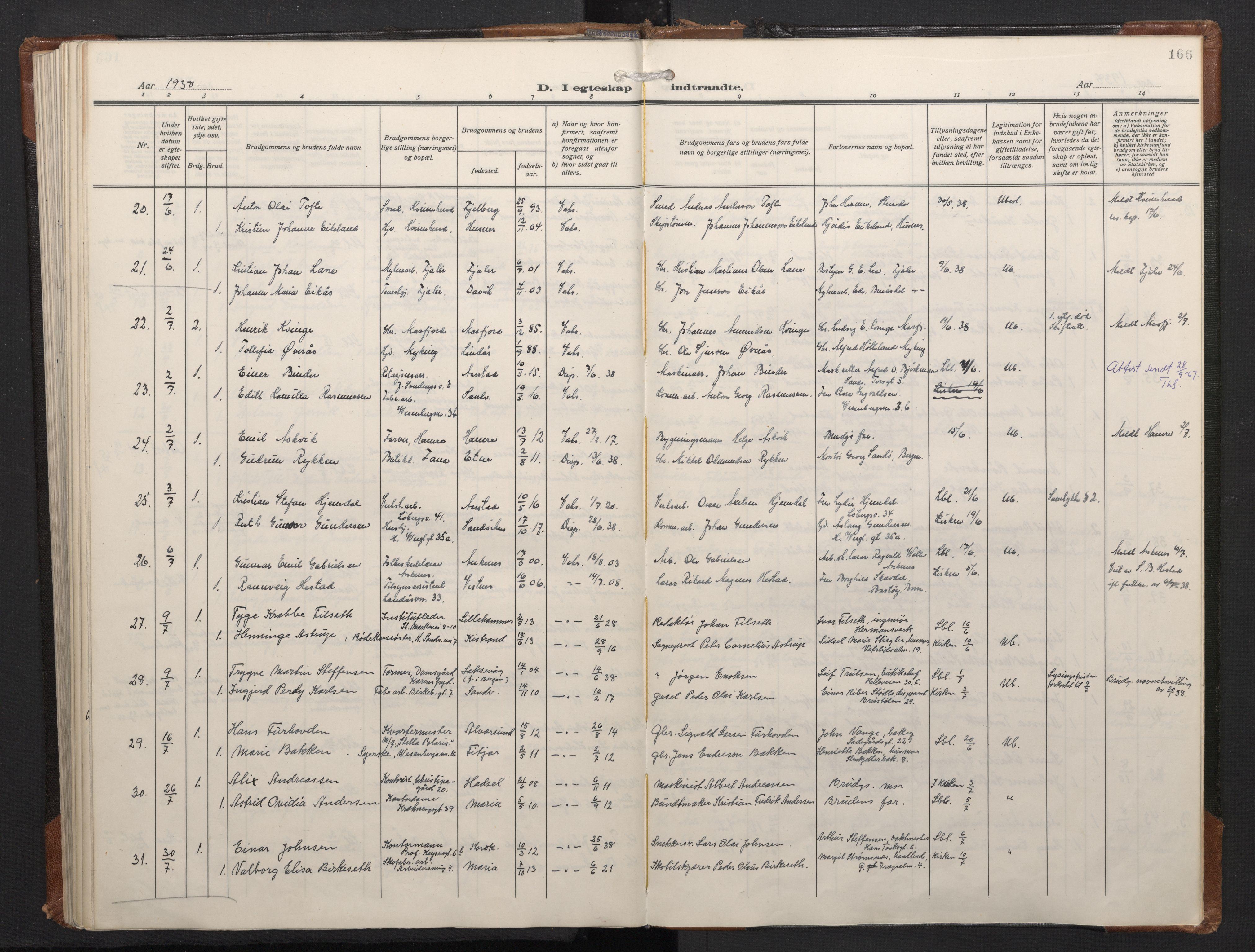 SAB, Mariakirken Sokneprestembete, H/Haa/L0016: Ministerialbok nr. C 4, 1927-1938, s. 165b-166a