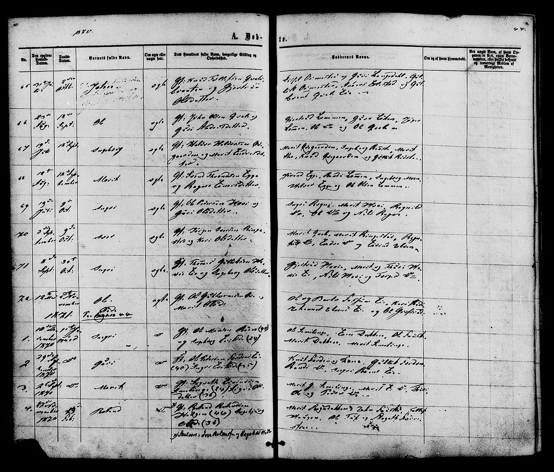 SAH, Vestre Slidre prestekontor, Ministerialbok nr. 3, 1865-1880, s. 44