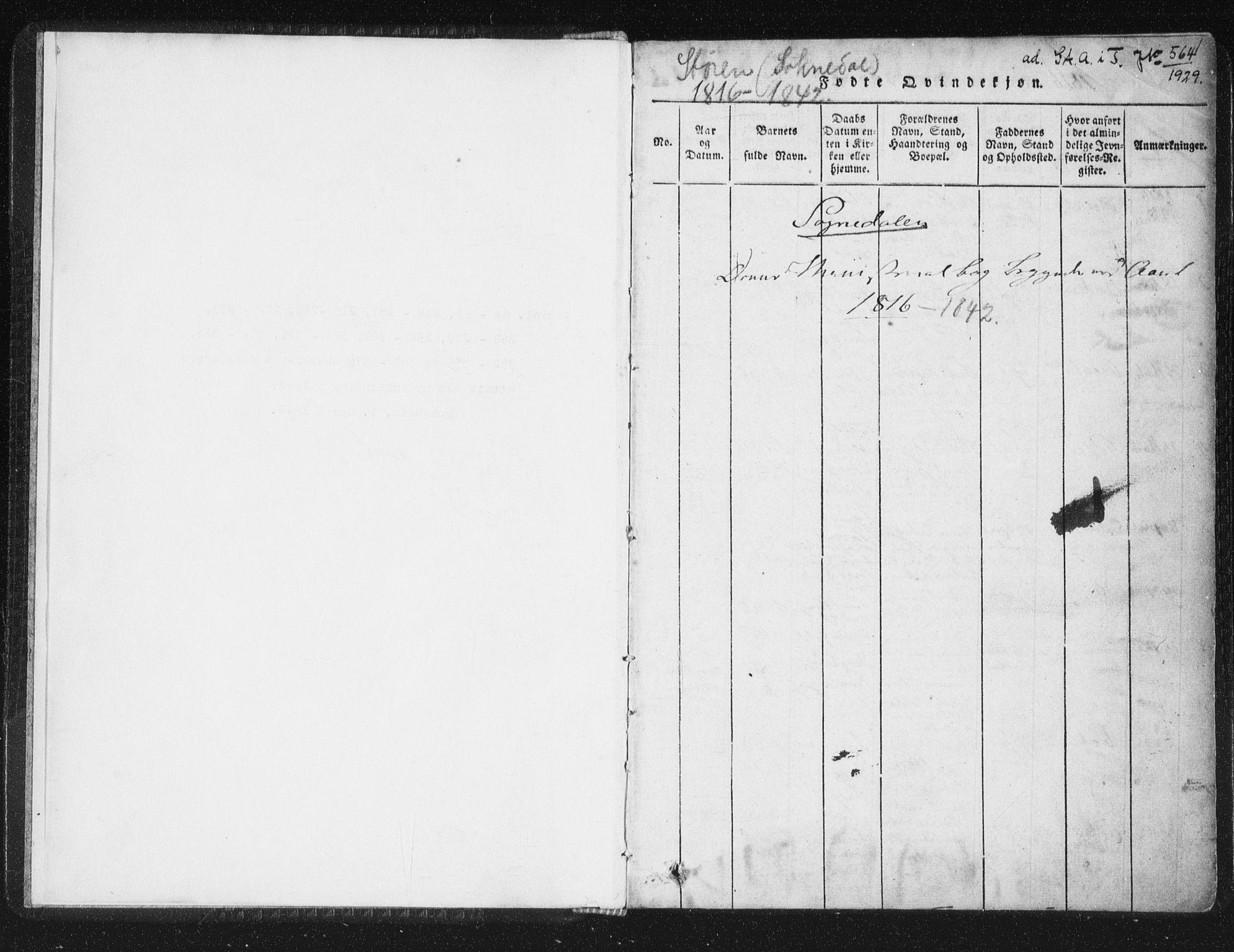 SAT, Ministerialprotokoller, klokkerbøker og fødselsregistre - Sør-Trøndelag, 689/L1037: Ministerialbok nr. 689A02, 1816-1842, s. 1