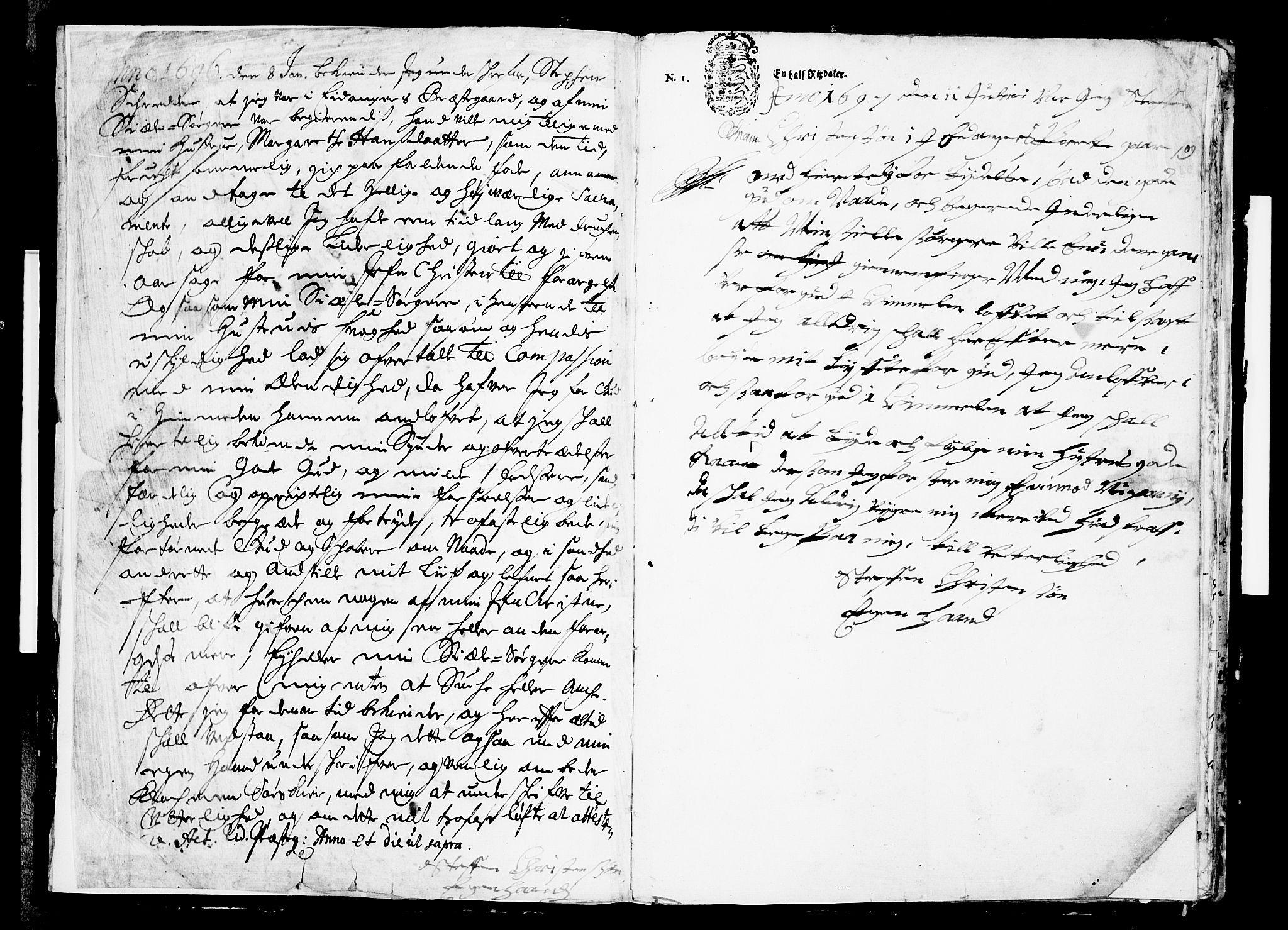 SAKO, Eidanger kirkebøker, F/Fa/L0001: Ministerialbok nr. 1, 1695-1717, s. 2
