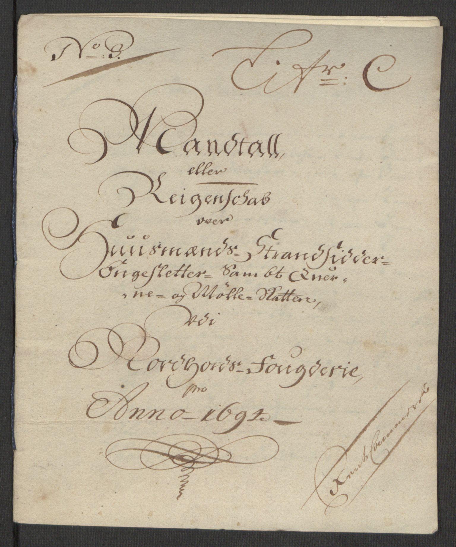 RA, Rentekammeret inntil 1814, Reviderte regnskaper, Fogderegnskap, R51/L3182: Fogderegnskap Nordhordland og Voss, 1694, s. 293
