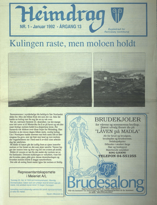BYST, Rennesøy kommune. Heimdrag, lokalavis, X/Xa/L0014: Heimdrag 1992, 1992