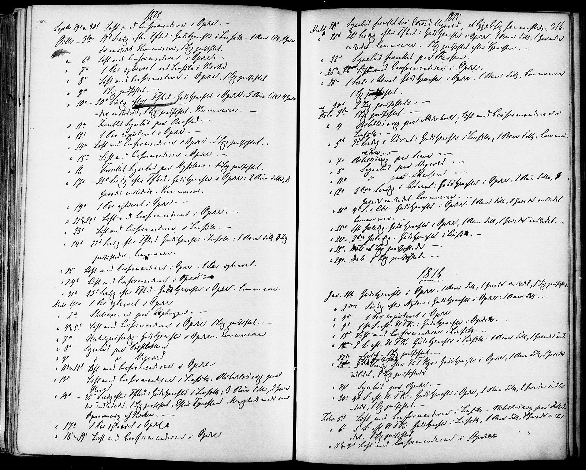 SAT, Ministerialprotokoller, klokkerbøker og fødselsregistre - Sør-Trøndelag, 678/L0900: Ministerialbok nr. 678A09, 1872-1881, s. 316