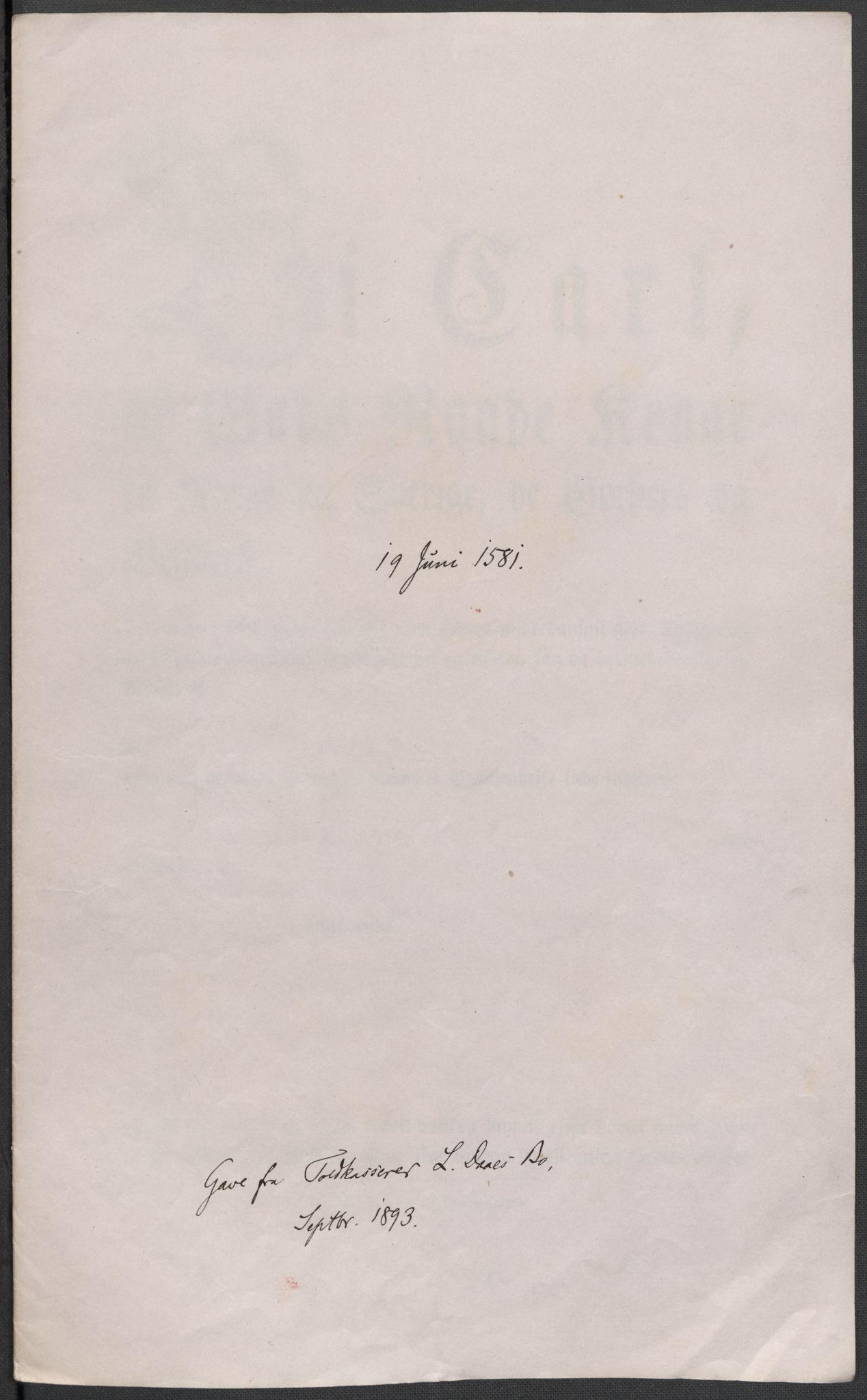 RA, Riksarkivets diplomsamling, F02/L0083: Dokumenter, 1581, s. 26