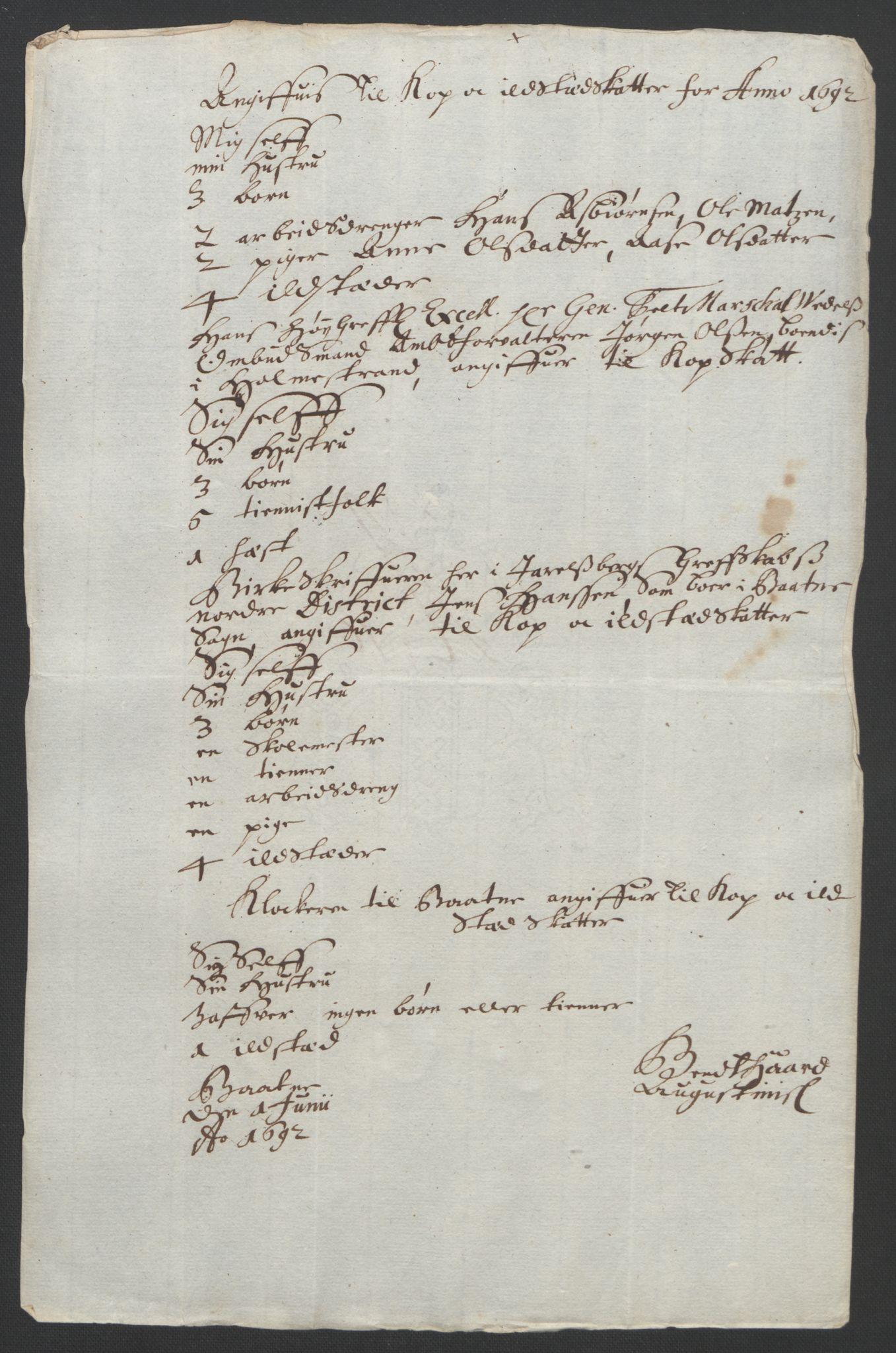 RA, Rentekammeret inntil 1814, Reviderte regnskaper, Fogderegnskap, R32/L1865: Fogderegnskap Jarlsberg grevskap, 1692, s. 291