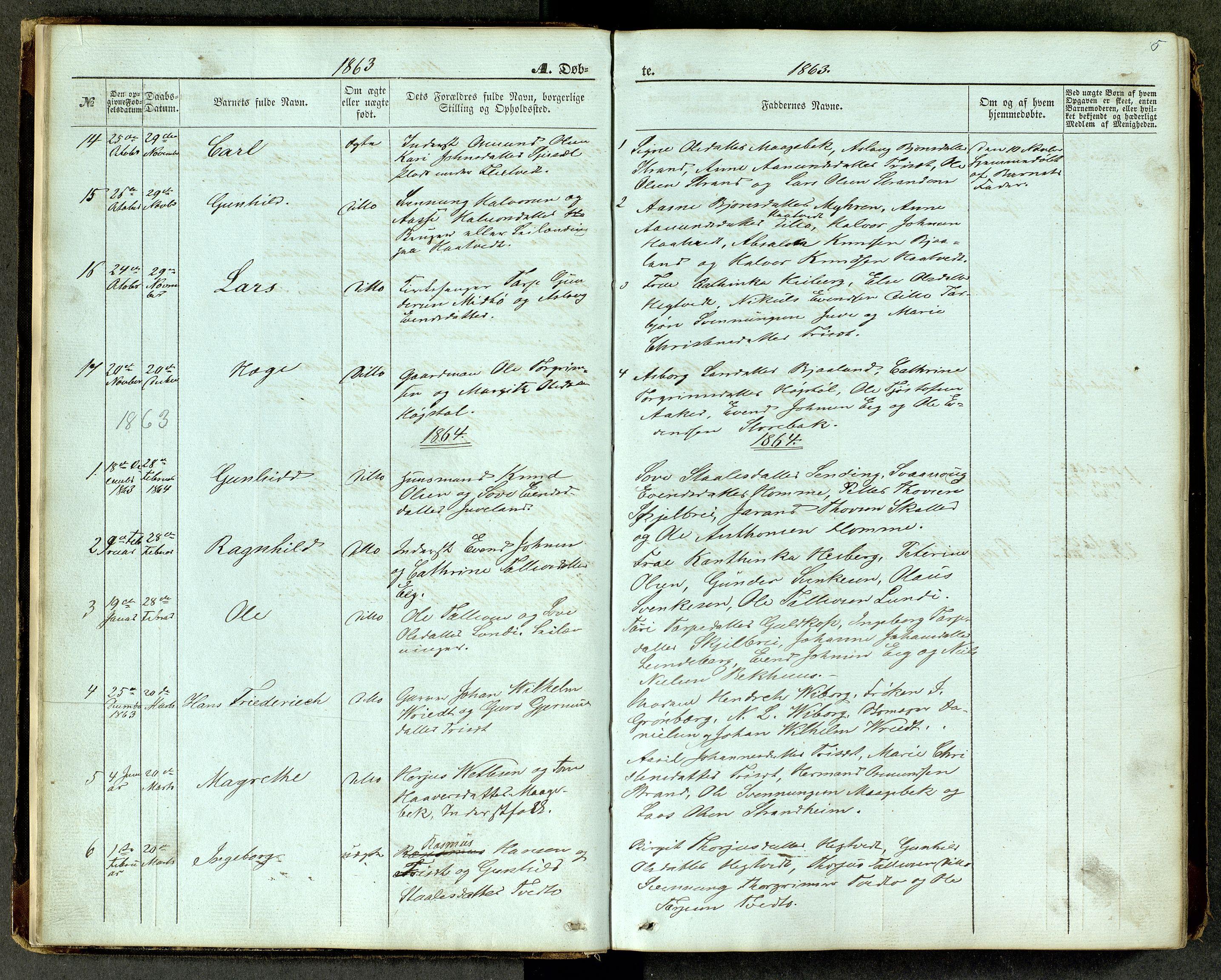 SAKO, Lårdal kirkebøker, G/Ga/L0002: Klokkerbok nr. I 2, 1861-1890, s. 5