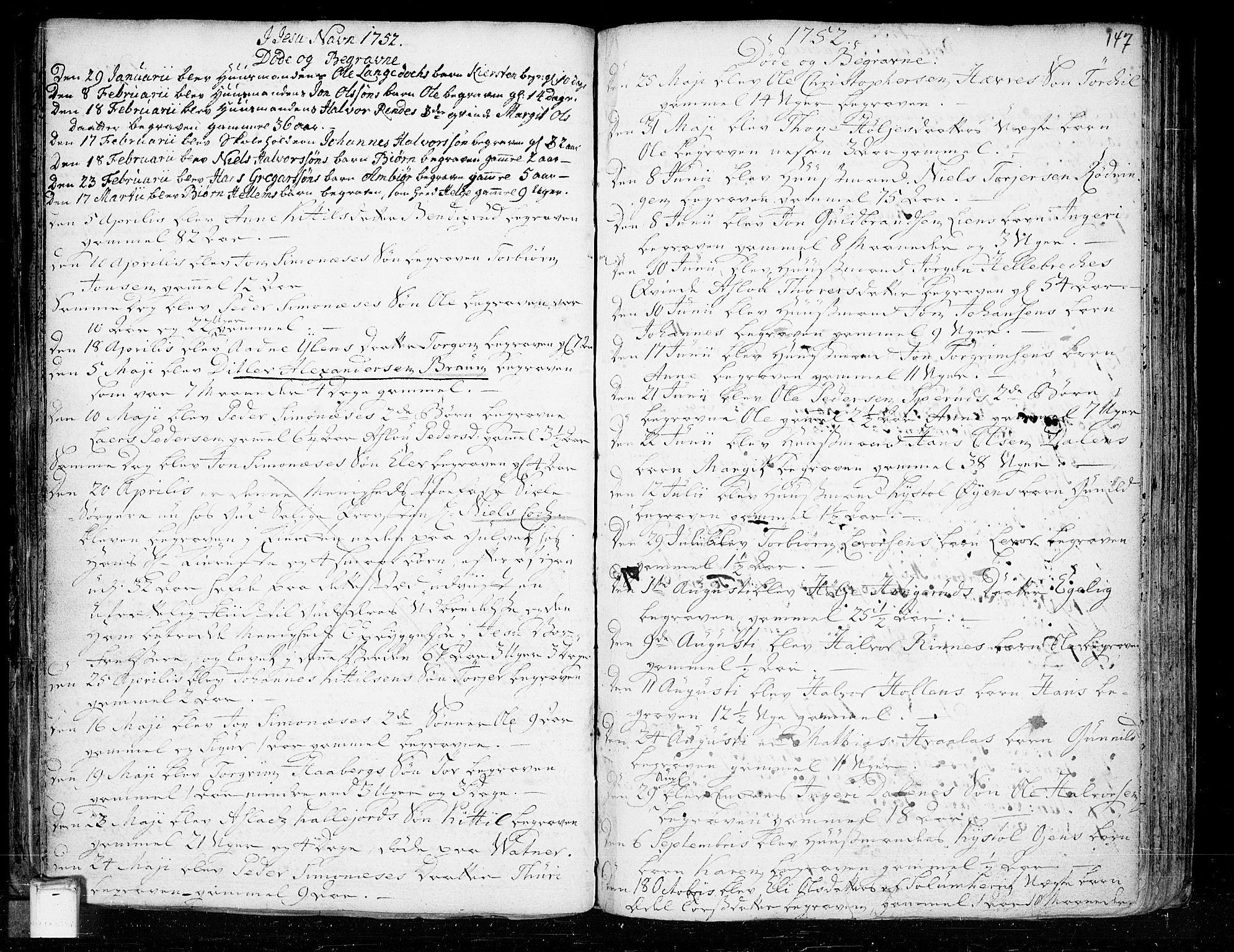 SAKO, Heddal kirkebøker, F/Fa/L0003: Ministerialbok nr. I 3, 1723-1783, s. 147