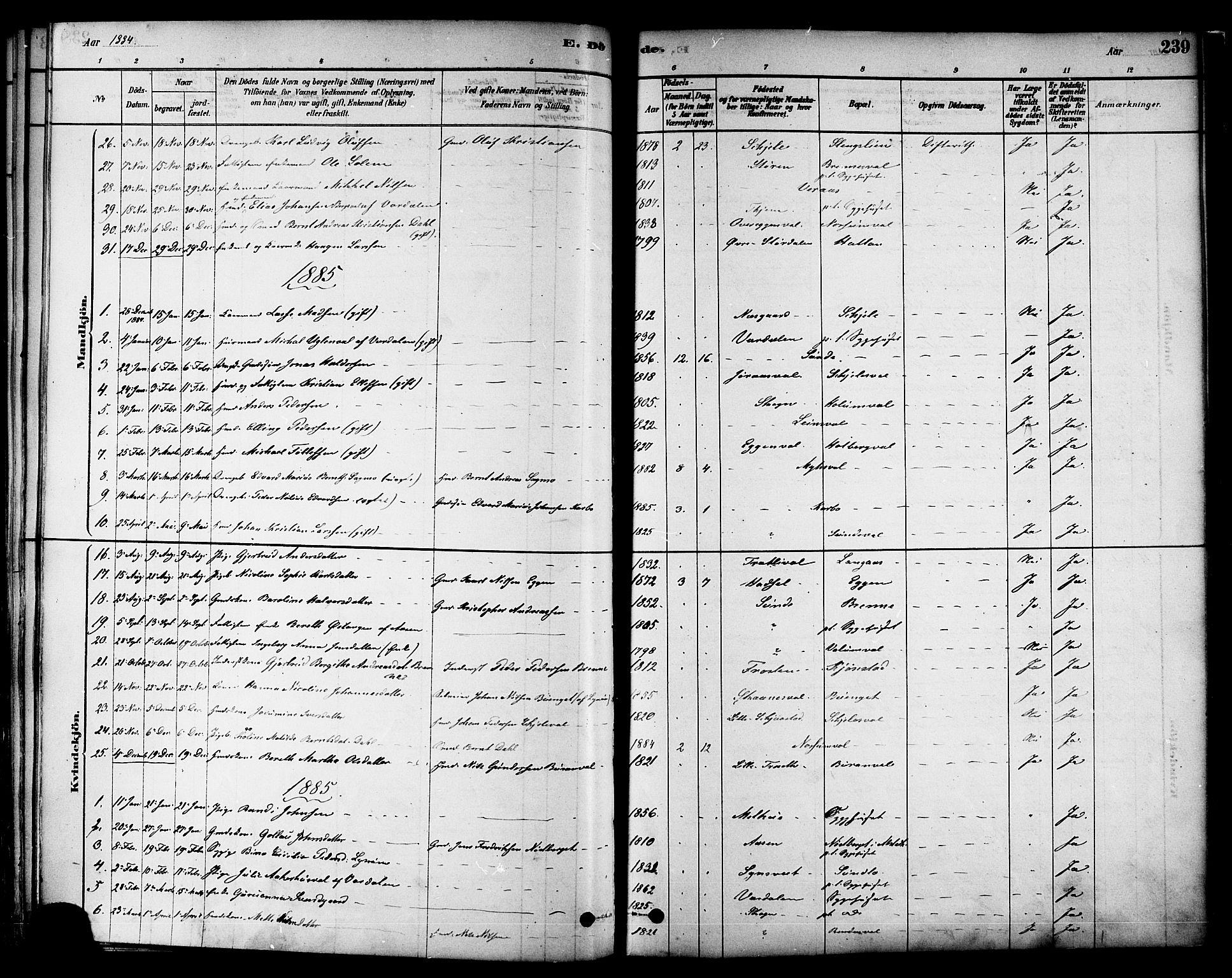 SAT, Ministerialprotokoller, klokkerbøker og fødselsregistre - Nord-Trøndelag, 717/L0159: Ministerialbok nr. 717A09, 1878-1898, s. 239