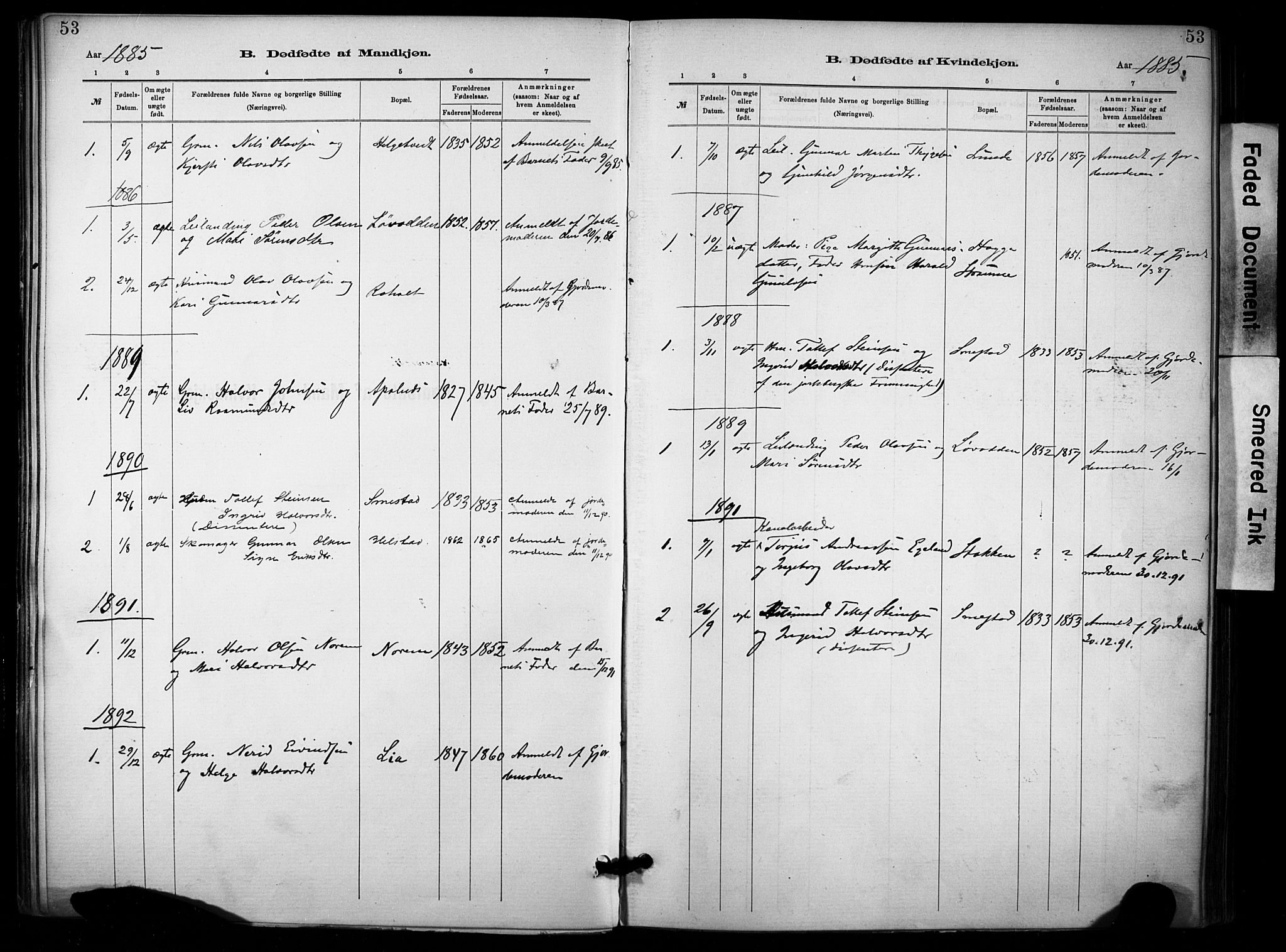 SAKO, Lunde kirkebøker, F/Fa/L0002: Ministerialbok nr. I 2, 1884-1892, s. 53