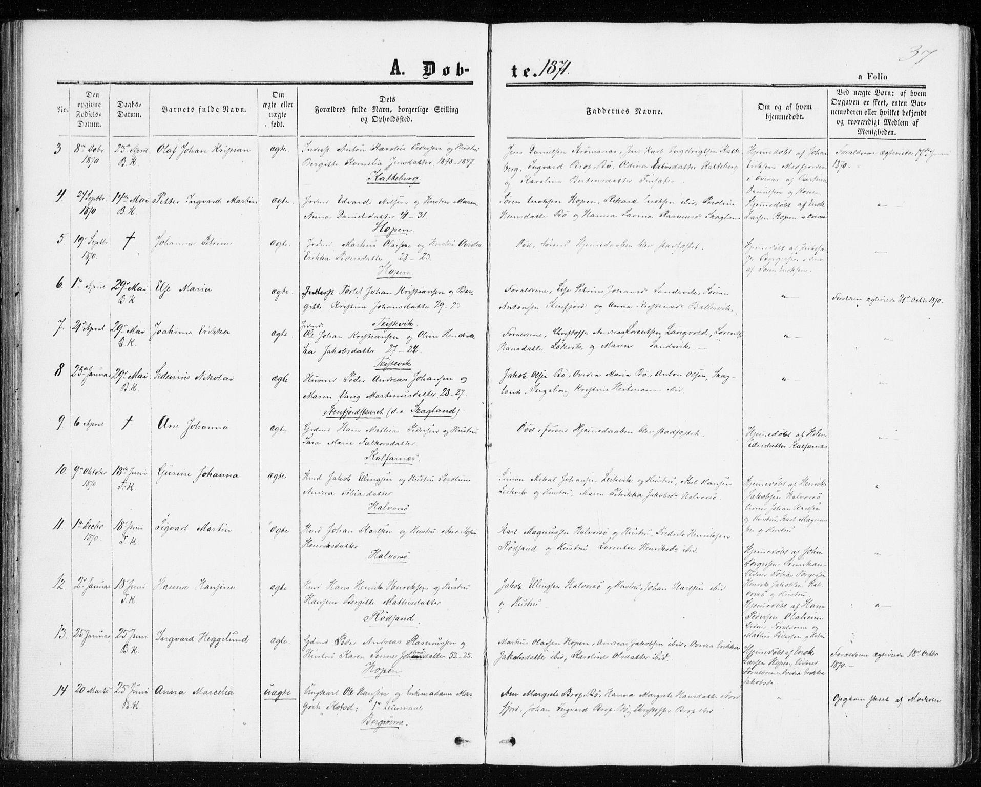 SATØ, Mefjord/Berg sokneprestkontor, G/Ga/Gaa/L0002kirke: Ministerialbok nr. 2, 1860-1872, s. 37