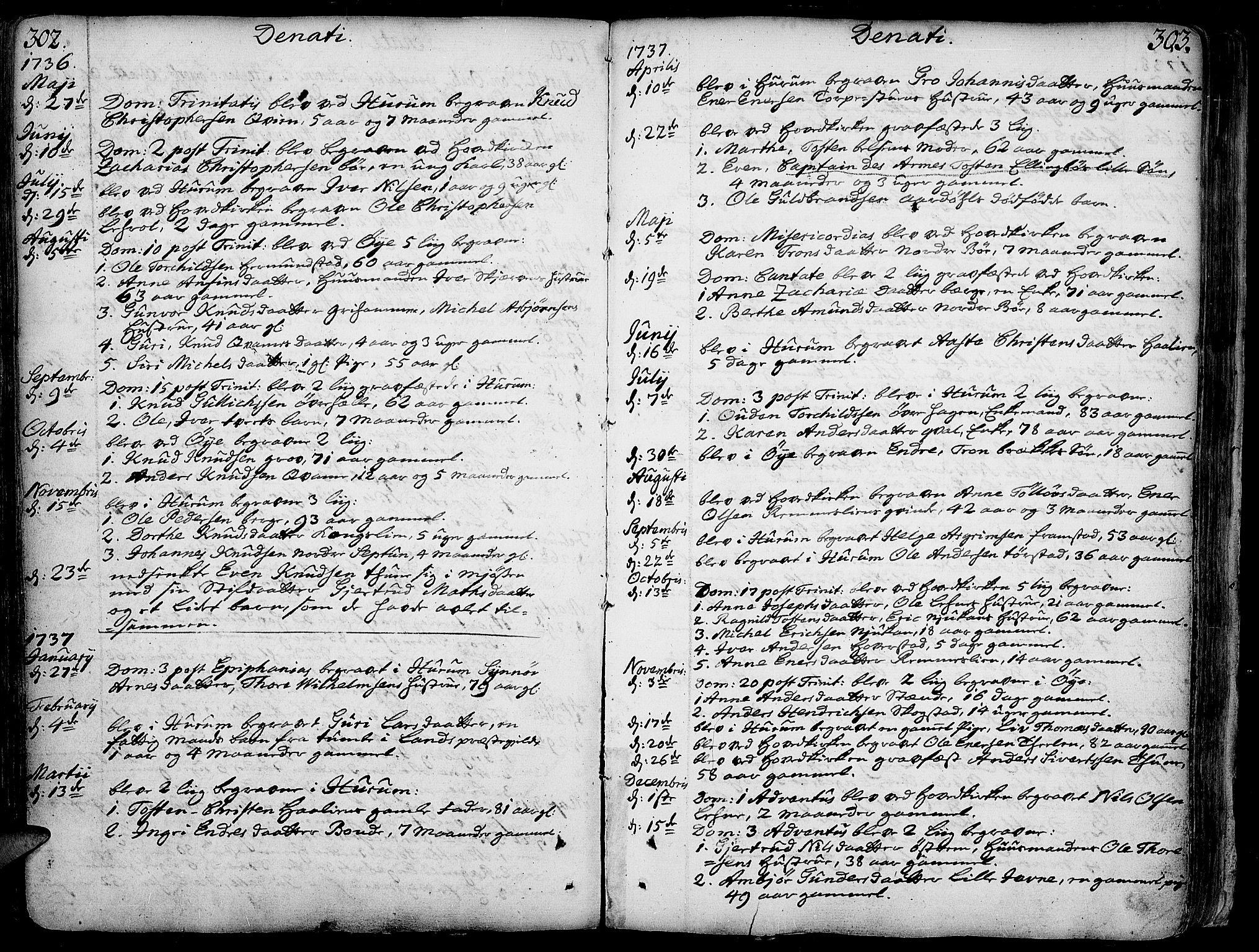 SAH, Vang prestekontor, Valdres, Ministerialbok nr. 1, 1730-1796, s. 302-303