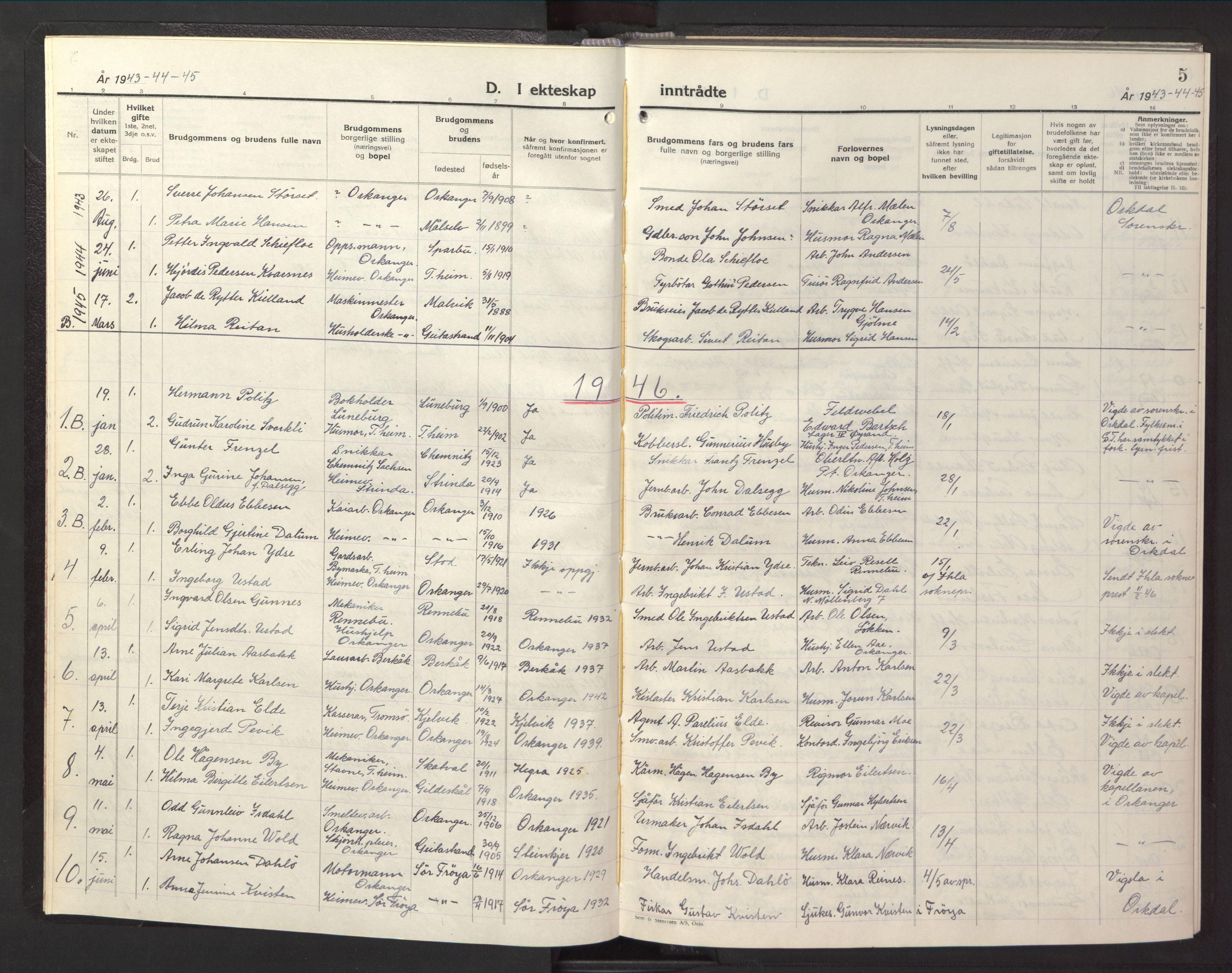 SAT, Ministerialprotokoller, klokkerbøker og fødselsregistre - Sør-Trøndelag, 669/L0833: Klokkerbok nr. 669C03, 1945-1950, s. 5