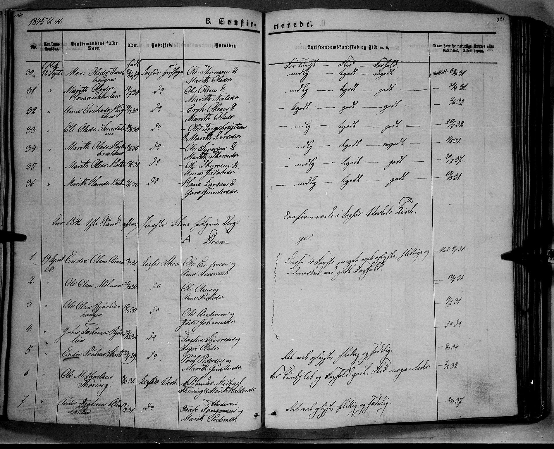 SAH, Lesja prestekontor, Ministerialbok nr. 6A, 1843-1854, s. 380-381