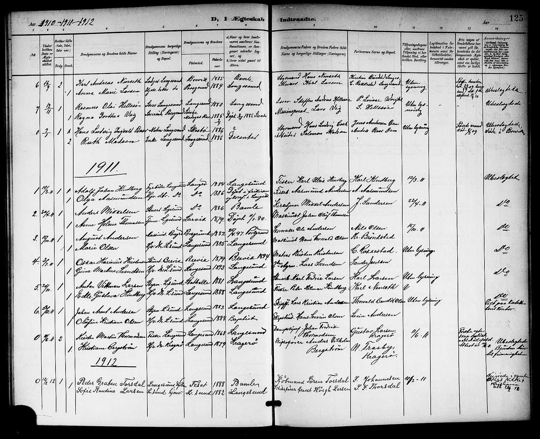 SAKO, Langesund kirkebøker, G/Ga/L0006: Klokkerbok nr. 6, 1899-1918, s. 125