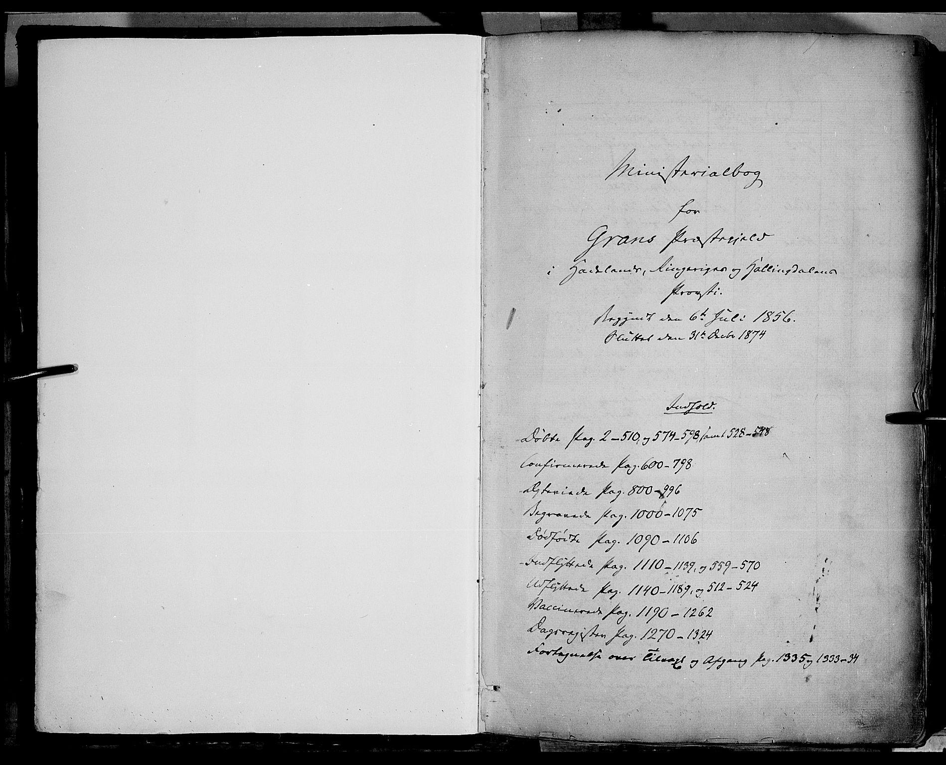 SAH, Gran prestekontor, Ministerialbok nr. 12, 1856-1874