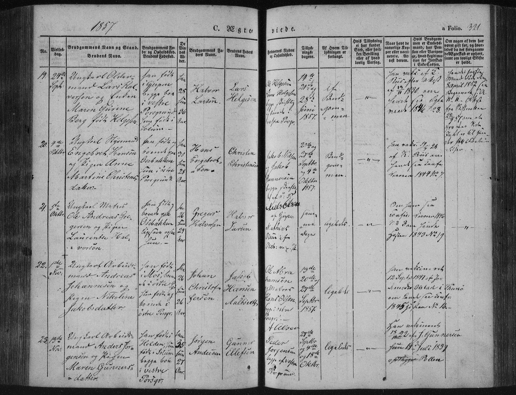 SAKO, Porsgrunn kirkebøker , F/Fa/L0006: Ministerialbok nr. 6, 1841-1857, s. 321