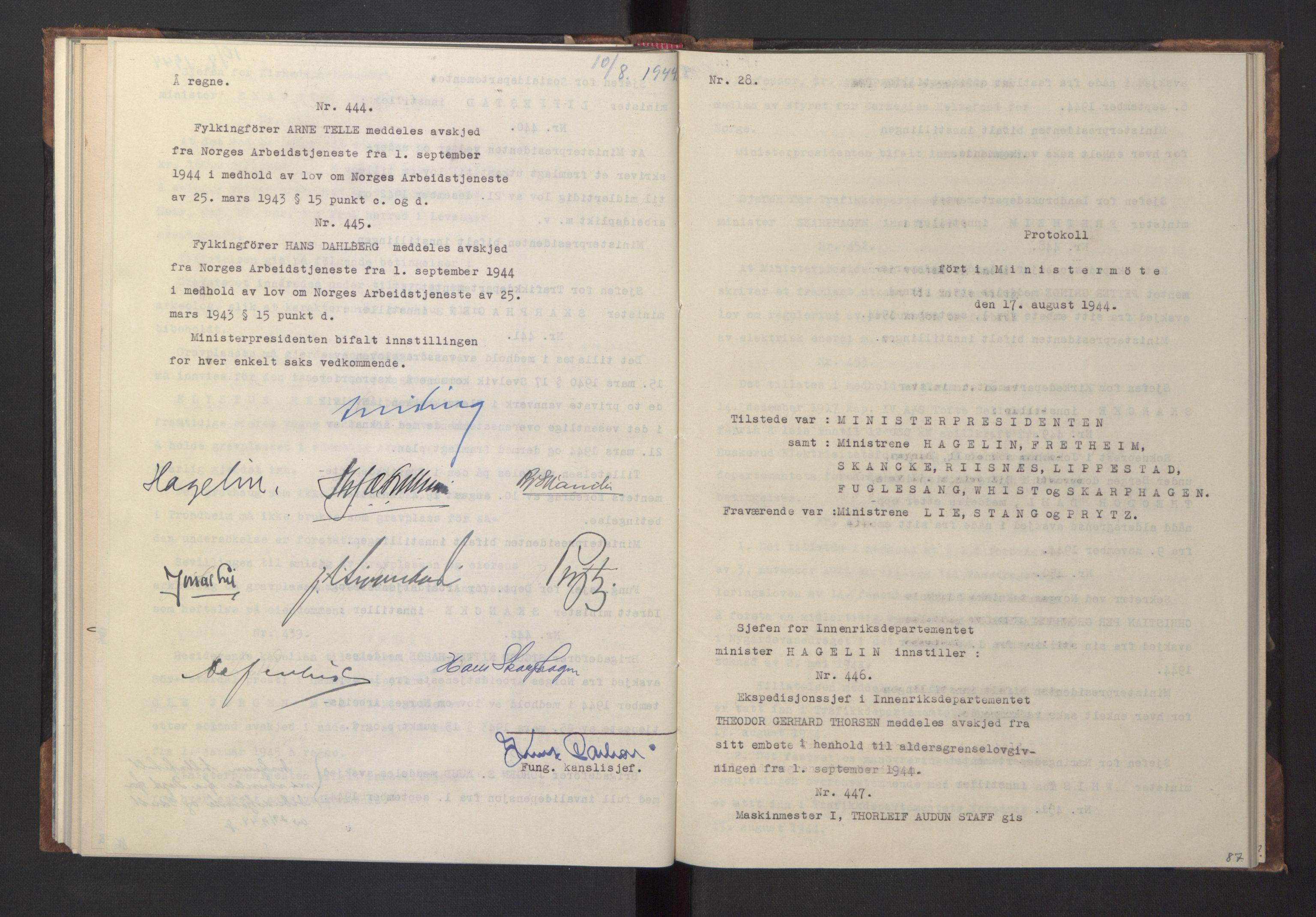 RA, NS-administrasjonen 1940-1945 (Statsrådsekretariatet, de kommisariske statsråder mm), D/Da/L0005: Protokoll fra ministermøter, 1944, s. 86b-87a