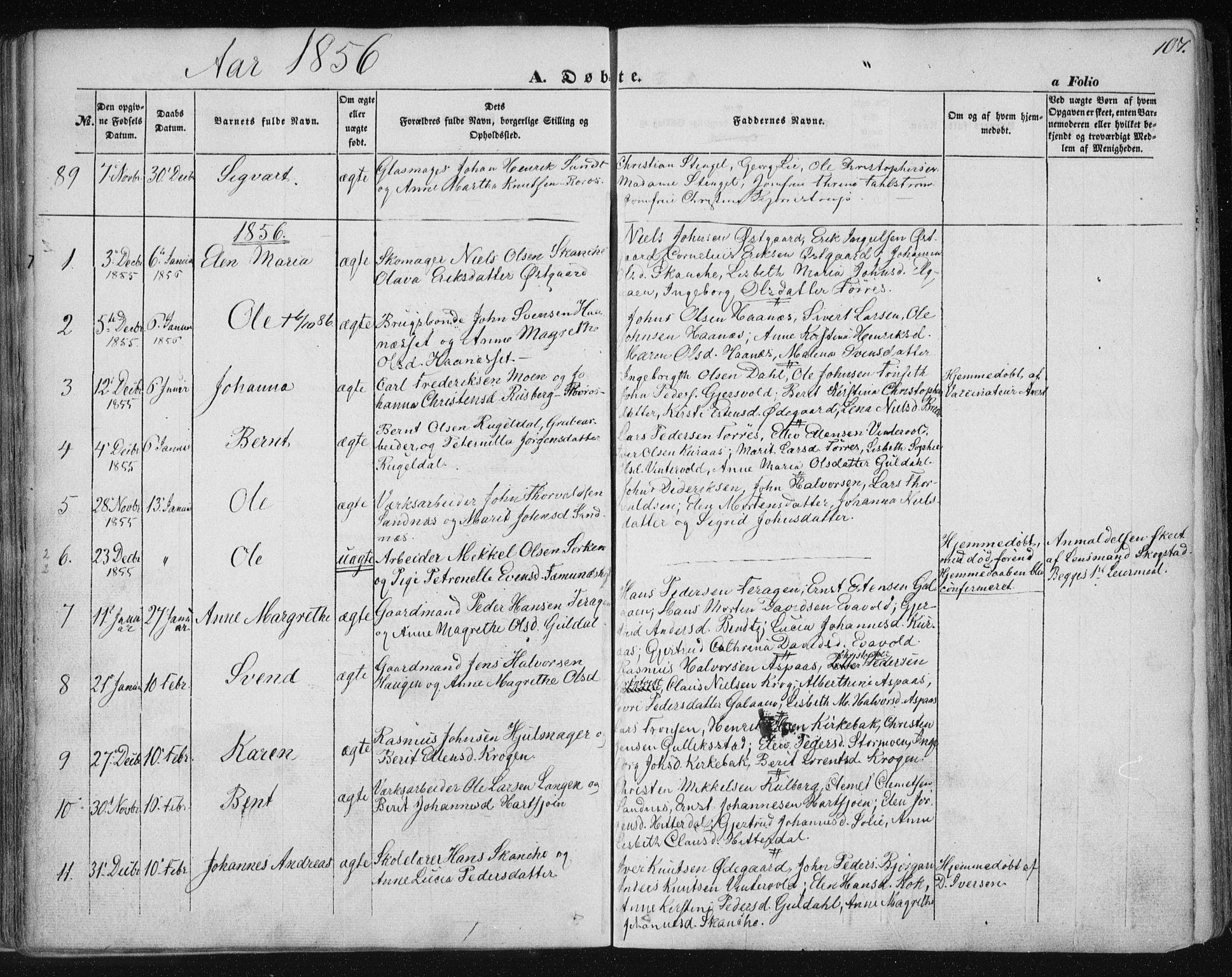 SAT, Ministerialprotokoller, klokkerbøker og fødselsregistre - Sør-Trøndelag, 681/L0931: Ministerialbok nr. 681A09, 1845-1859, s. 107