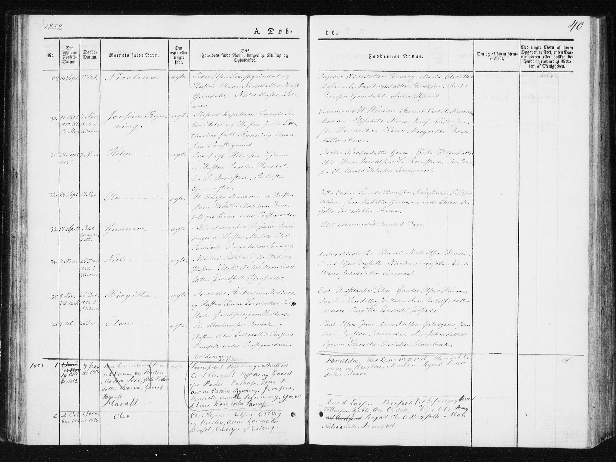 SAT, Ministerialprotokoller, klokkerbøker og fødselsregistre - Nord-Trøndelag, 749/L0470: Ministerialbok nr. 749A04, 1834-1853, s. 40