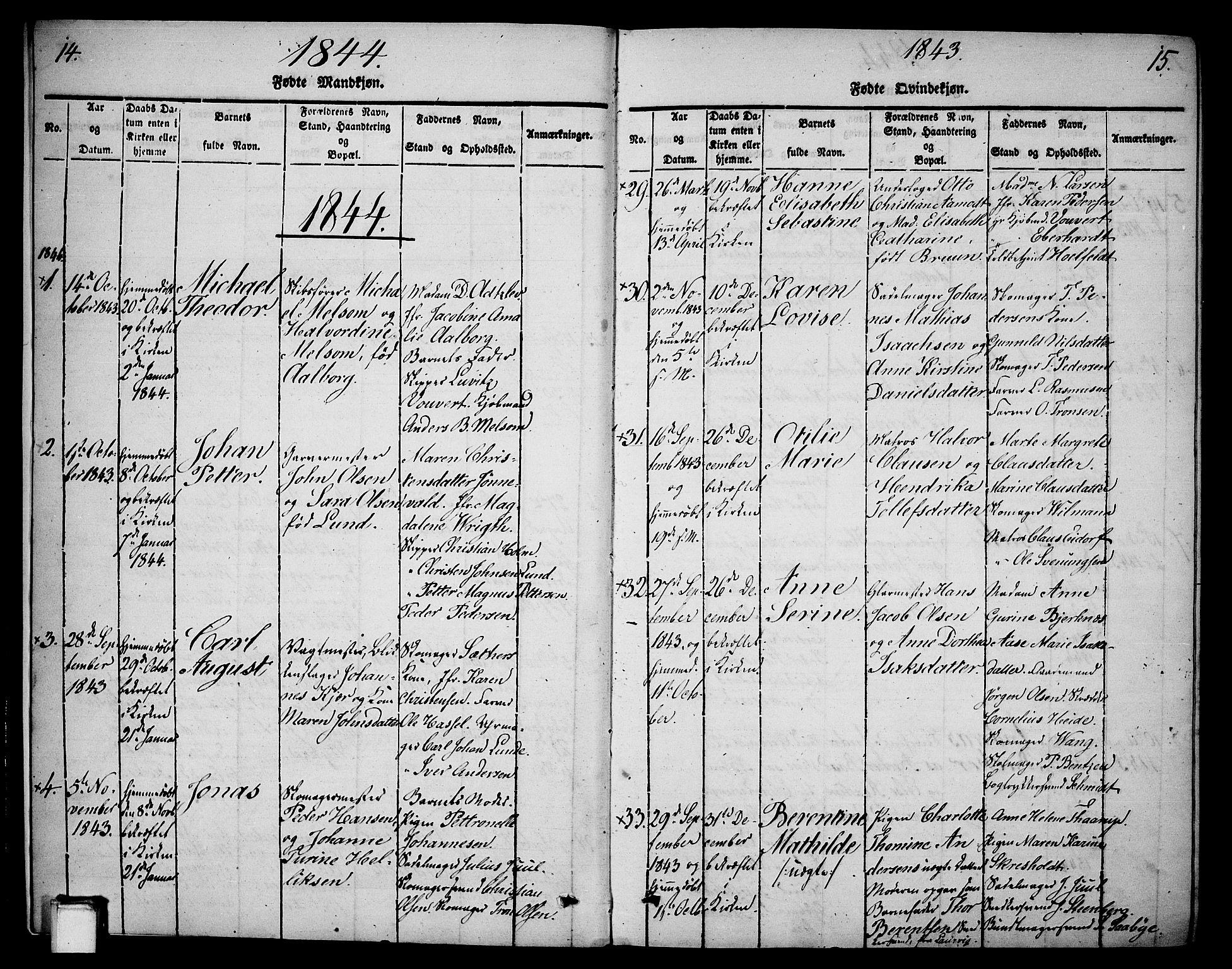 SAKO, Skien kirkebøker, G/Ga/L0003: Klokkerbok nr. 3, 1843-1847, s. 14-15