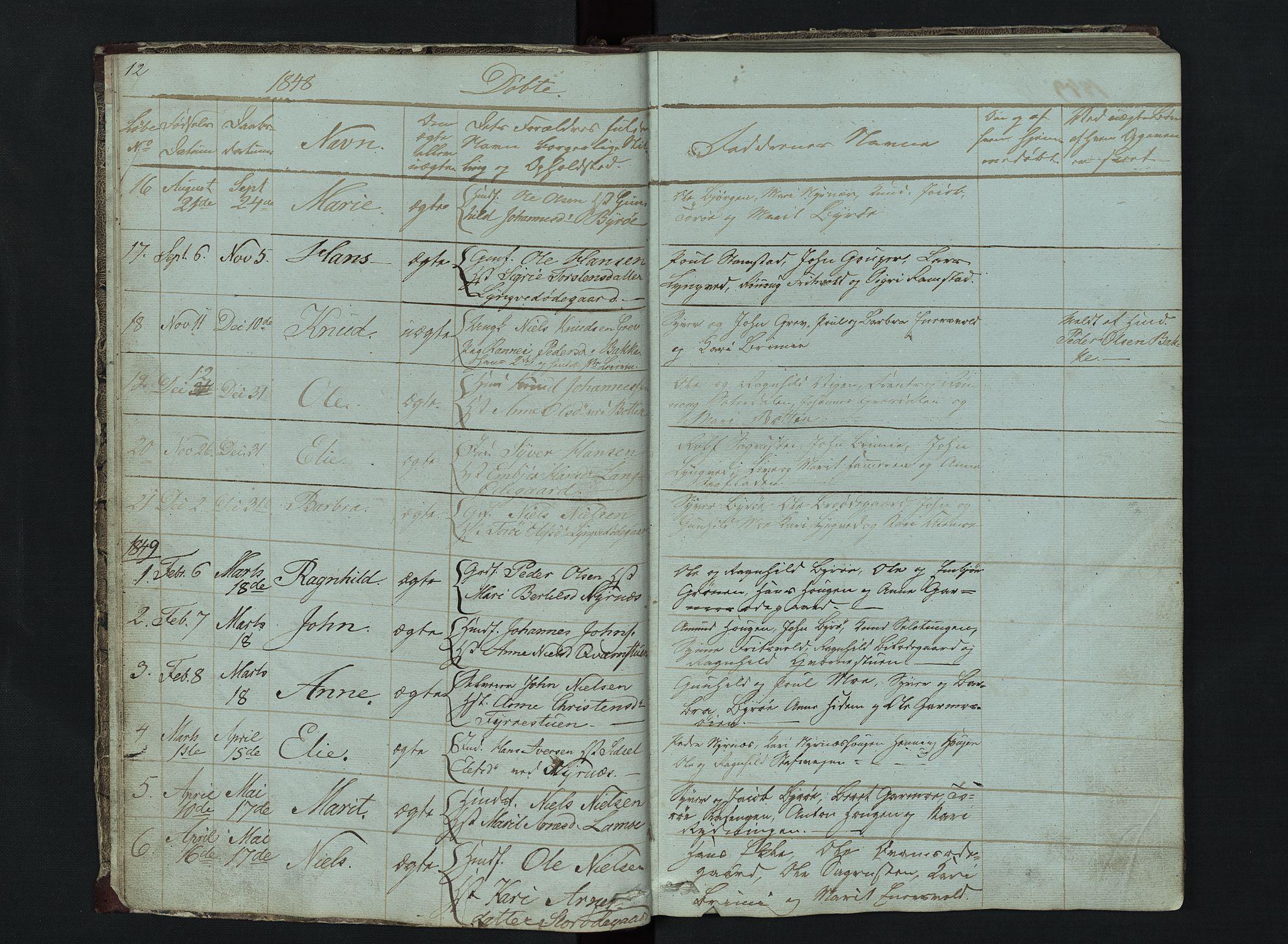 SAH, Lom prestekontor, L/L0014: Klokkerbok nr. 14, 1845-1876, s. 12-13