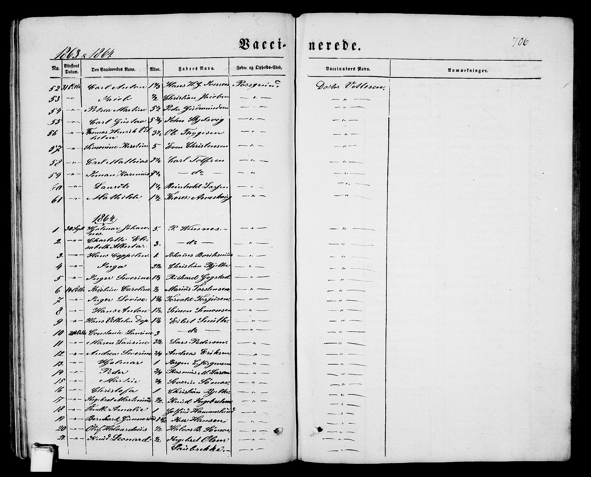 SAKO, Porsgrunn kirkebøker , G/Gb/L0004: Klokkerbok nr. II 4, 1853-1882, s. 706