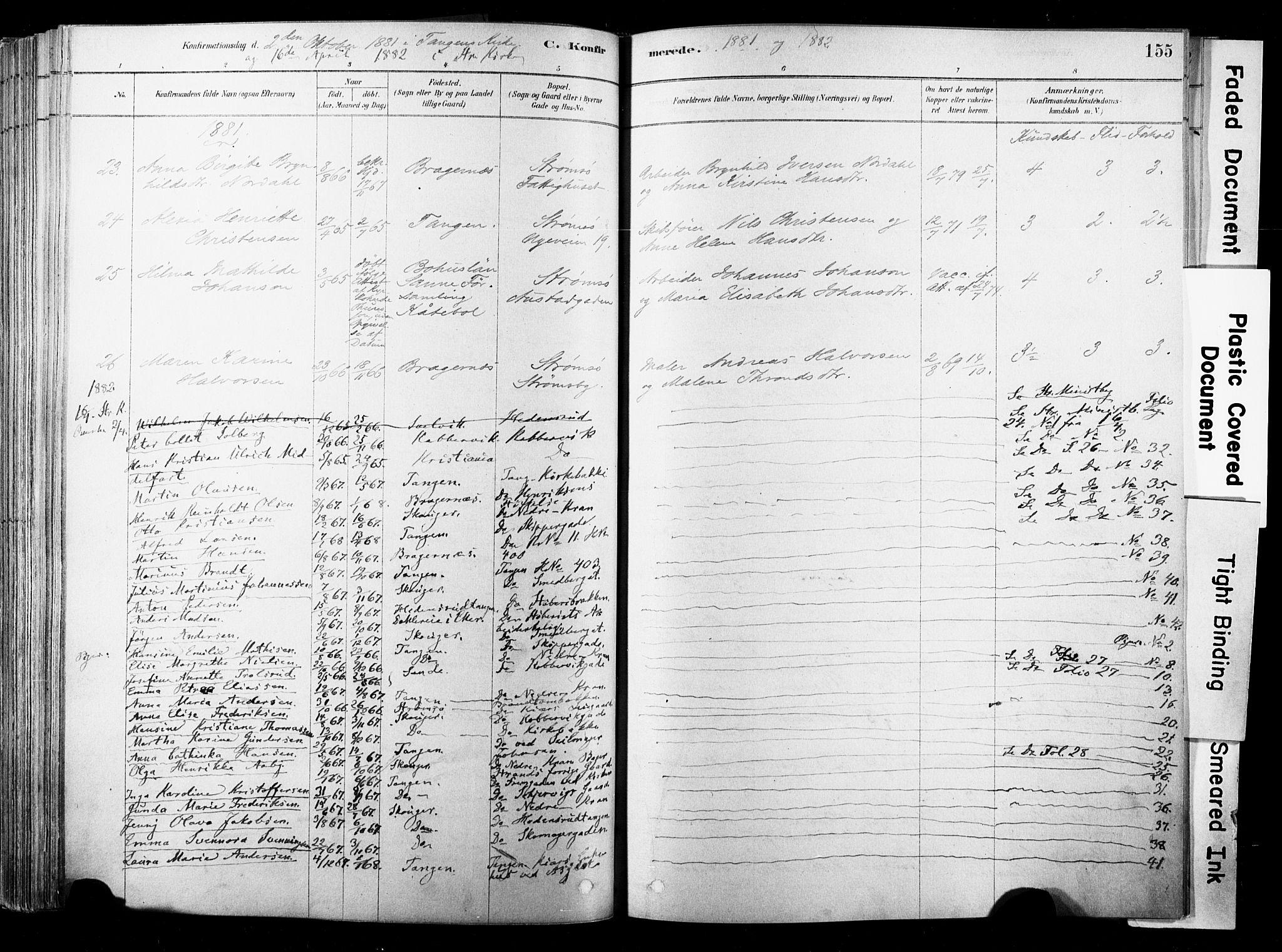 SAKO, Strømsø kirkebøker, F/Fb/L0006: Ministerialbok nr. II 6, 1879-1910, s. 155