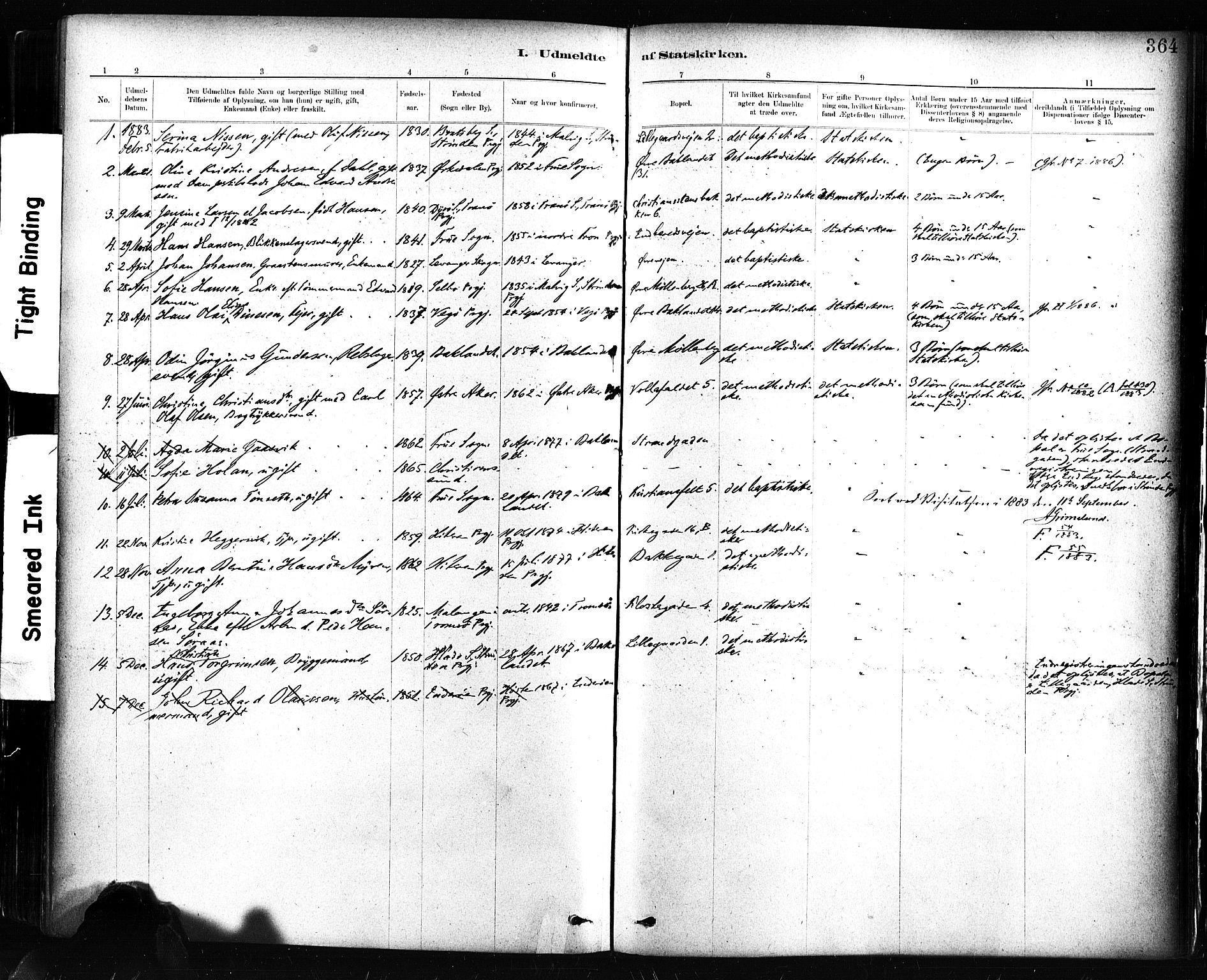 SAT, Ministerialprotokoller, klokkerbøker og fødselsregistre - Sør-Trøndelag, 604/L0189: Ministerialbok nr. 604A10, 1878-1892, s. 364