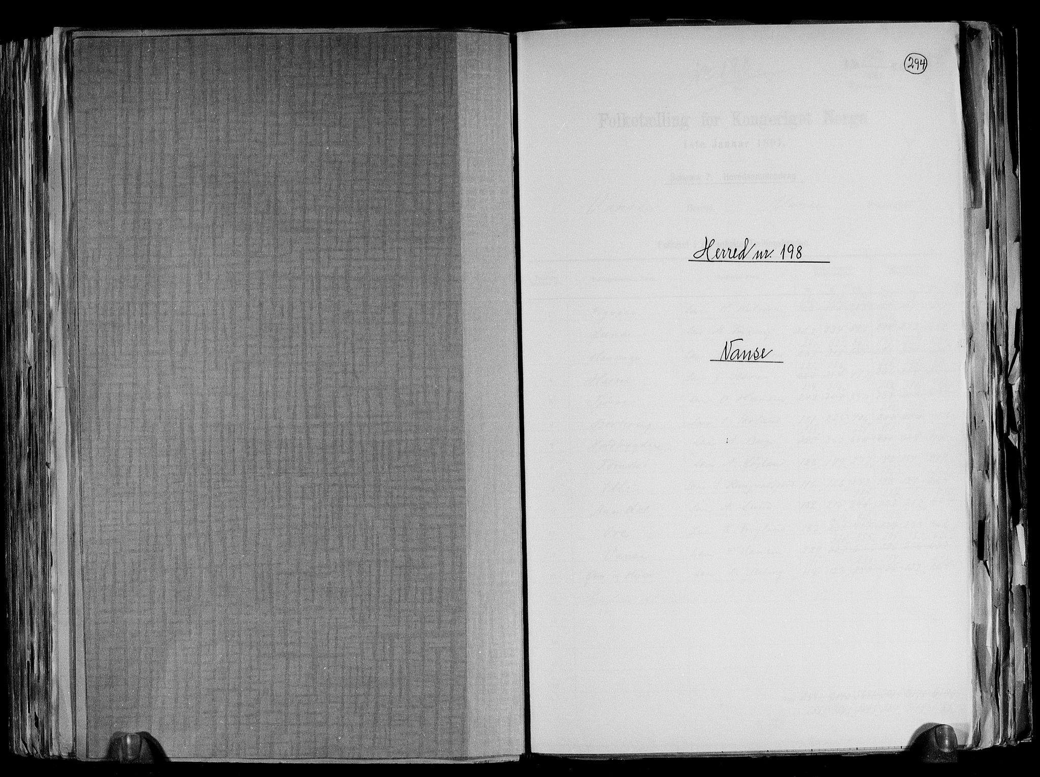 RA, Folketelling 1891 for 1041 Vanse herred, 1891, s. 1