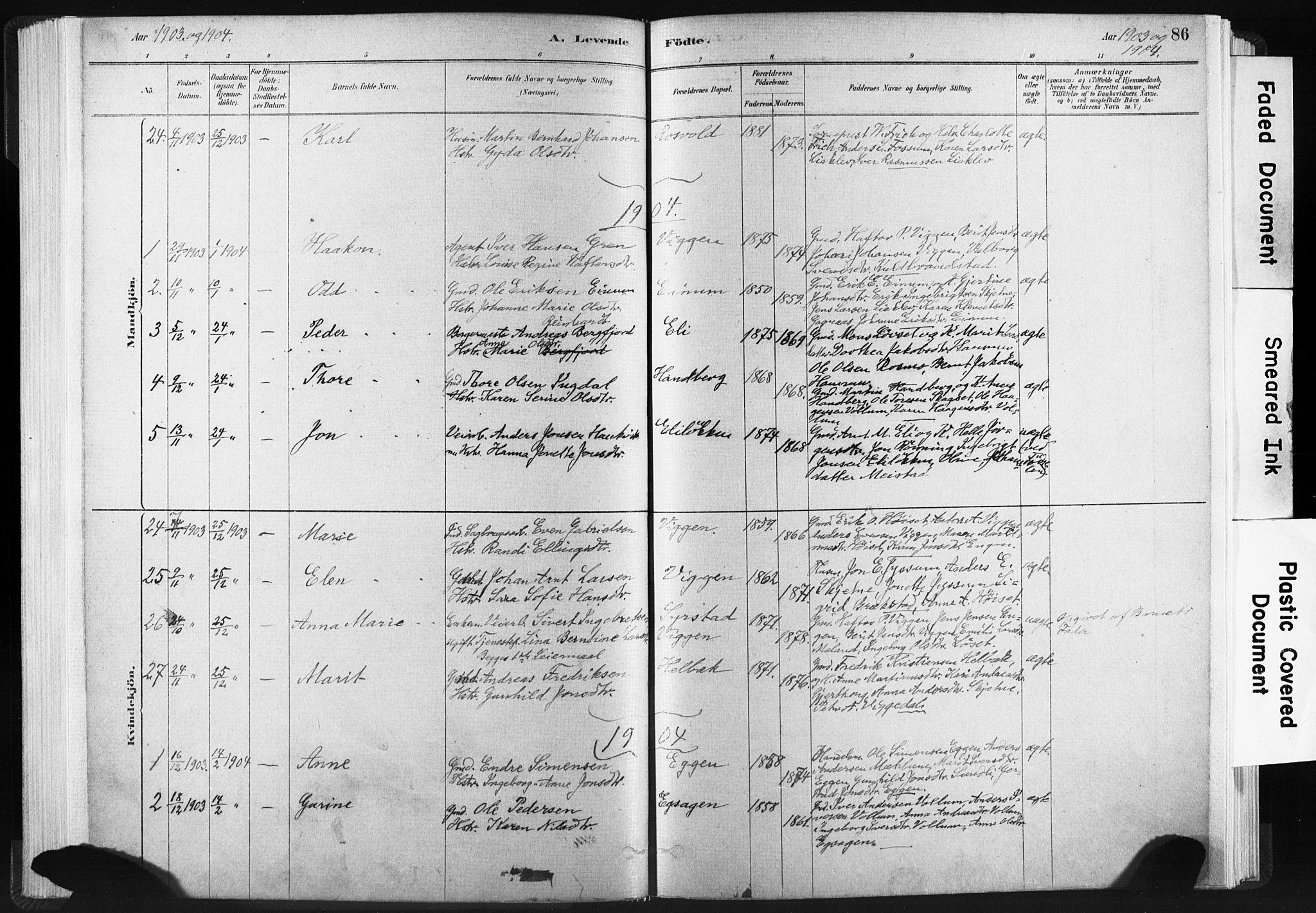 SAT, Ministerialprotokoller, klokkerbøker og fødselsregistre - Sør-Trøndelag, 665/L0773: Ministerialbok nr. 665A08, 1879-1905, s. 86