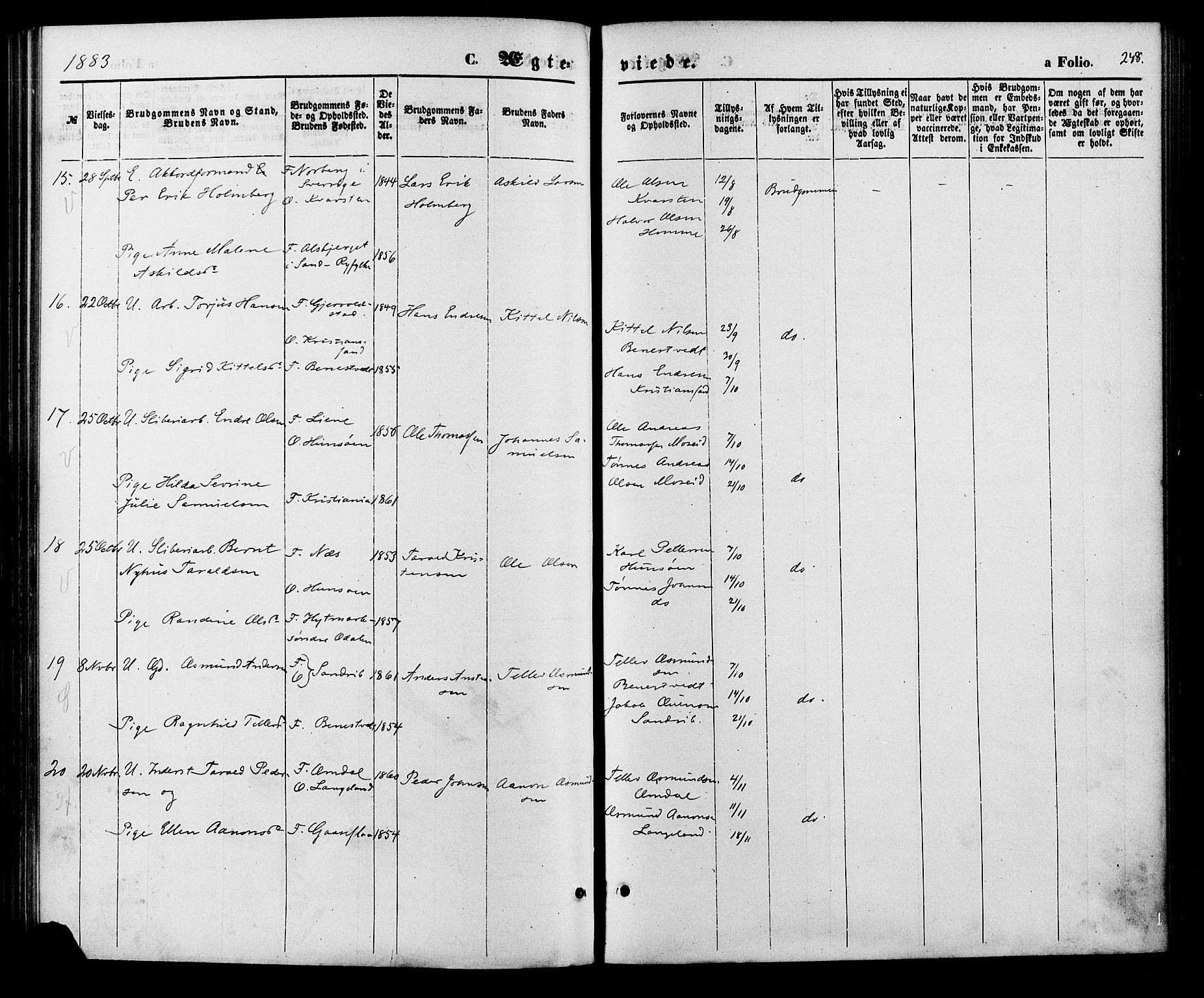 SAK, Vennesla sokneprestkontor, Fa/Fac/L0008: Ministerialbok nr. A 8, 1874-1883, s. 248