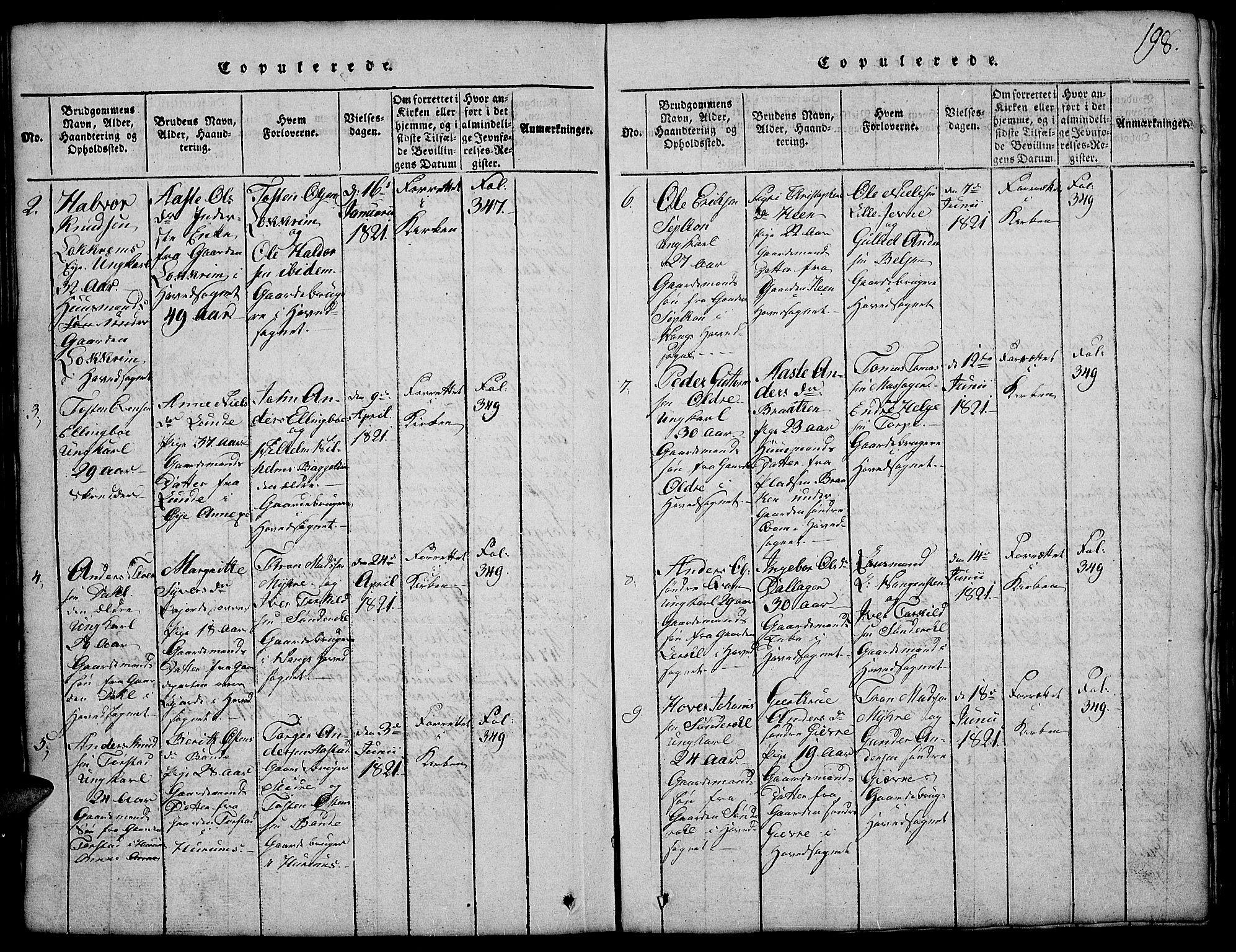 SAH, Vang prestekontor, Valdres, Klokkerbok nr. 2, 1814-1889, s. 198