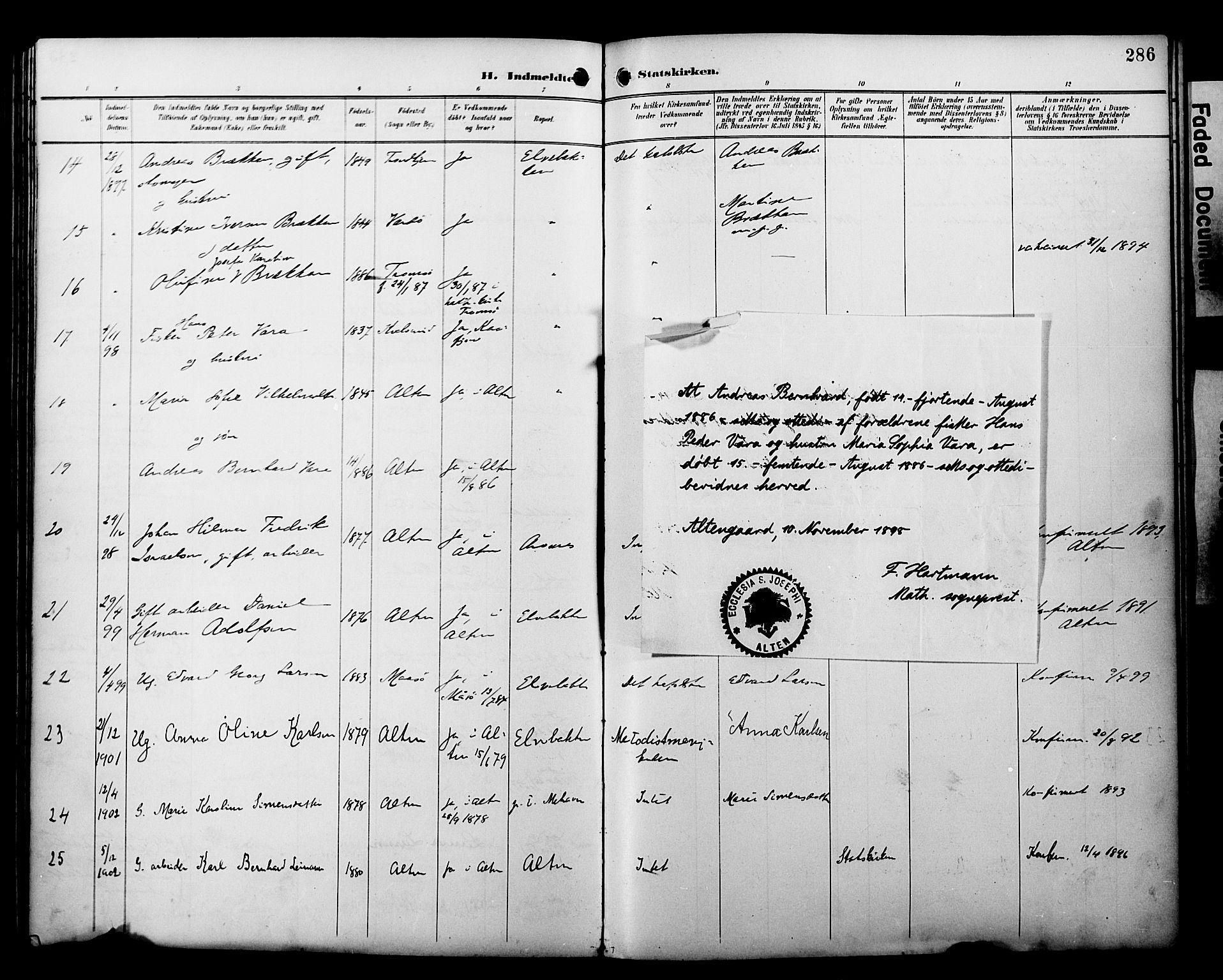 SATØ, Alta sokneprestembete, Ministerialbok nr. 3, 1892-1904, s. 286