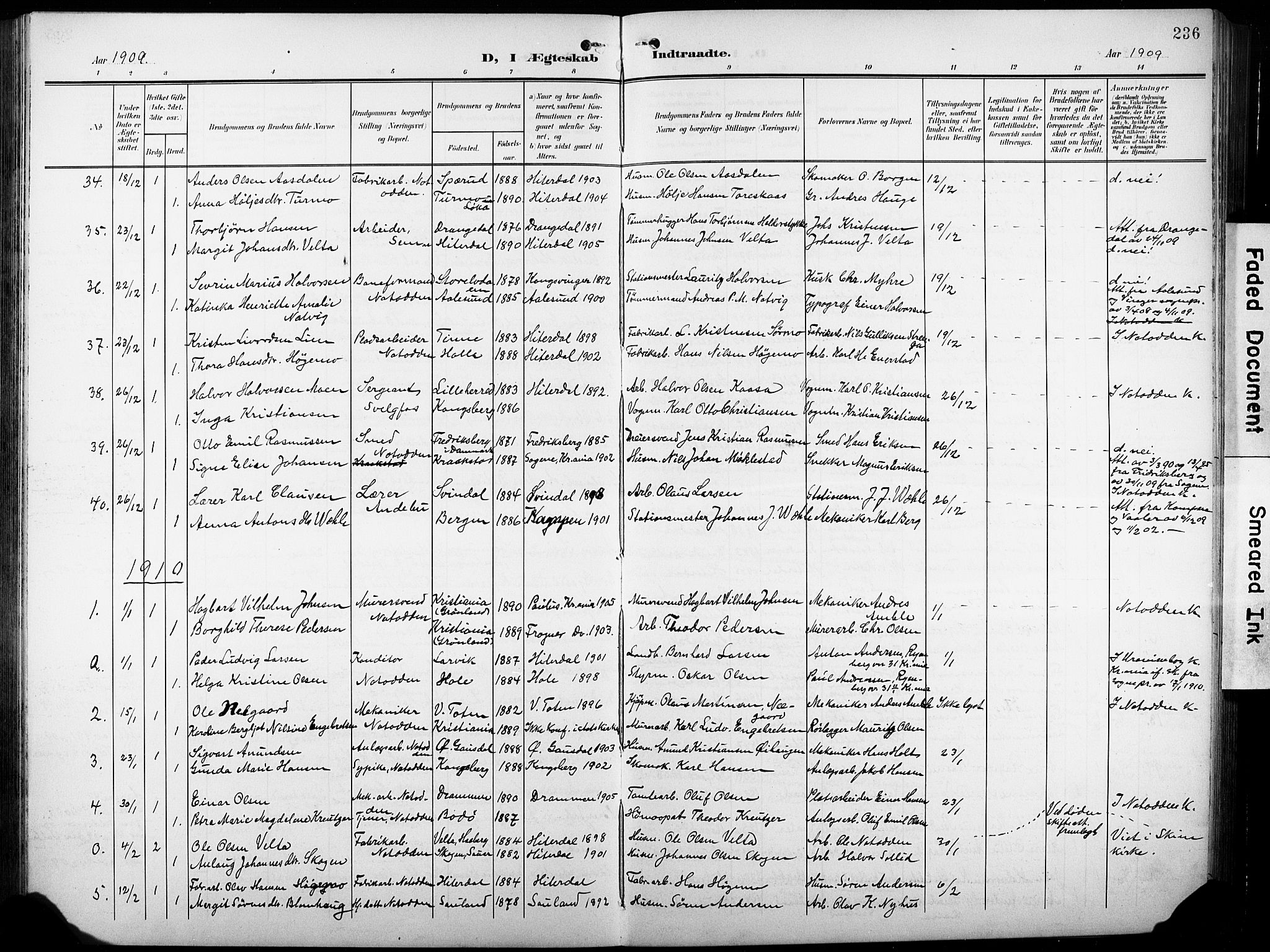 SAKO, Heddal kirkebøker, G/Ga/L0003: Klokkerbok nr. I 3, 1908-1932, s. 236