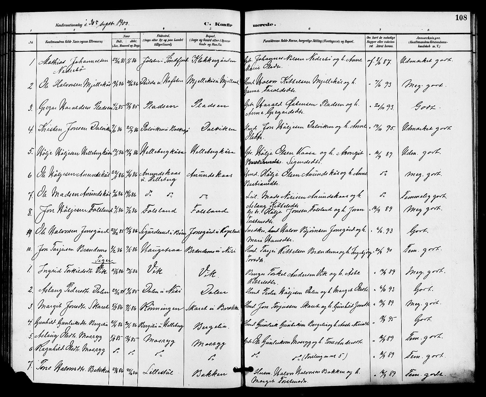 SAKO, Gransherad kirkebøker, G/Ga/L0003: Klokkerbok nr. I 3, 1887-1915, s. 108