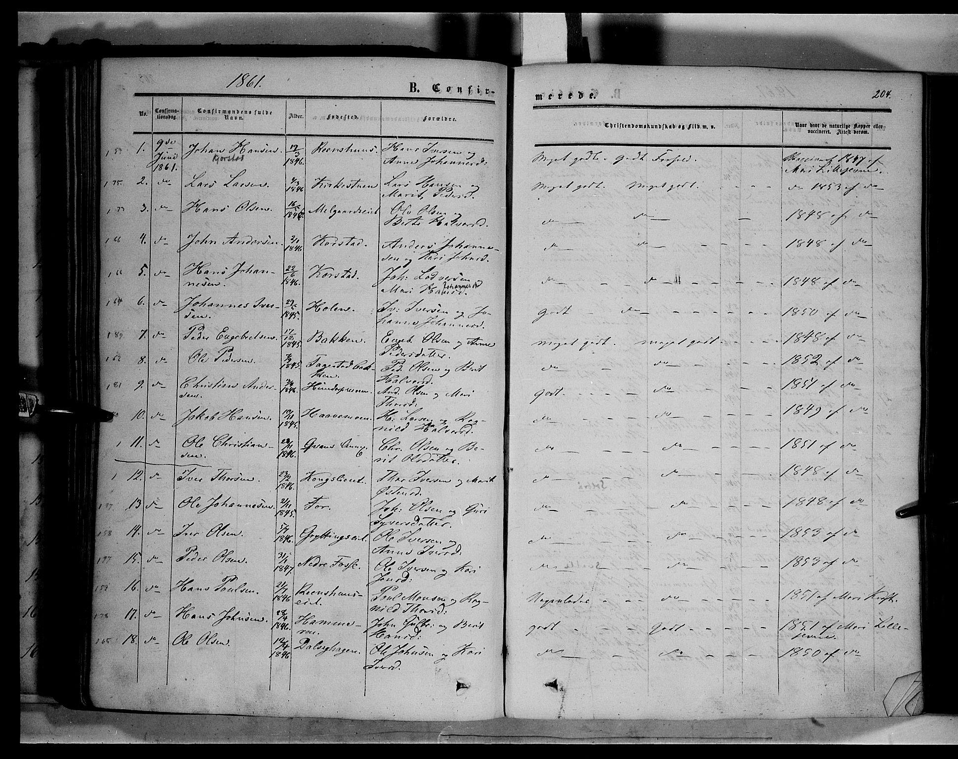 SAH, Sør-Fron prestekontor, H/Ha/Haa/L0001: Ministerialbok nr. 1, 1849-1863, s. 204