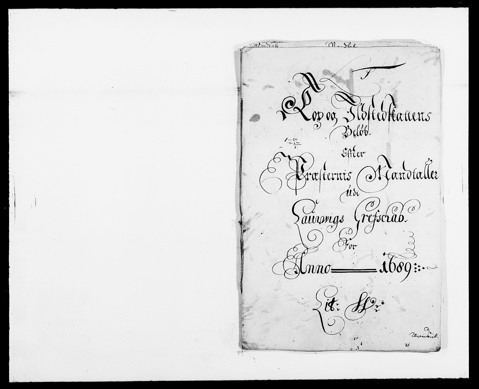RA, Rentekammeret inntil 1814, Reviderte regnskaper, Fogderegnskap, R33/L1971: Fogderegnskap Larvik grevskap, 1688-1689, s. 353