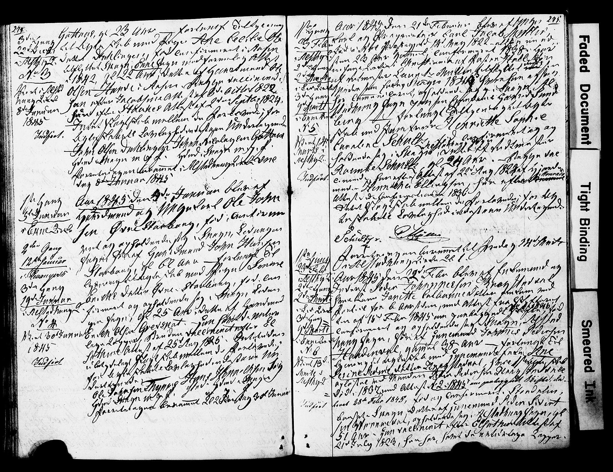 SAT, Ministerialprotokoller, klokkerbøker og fødselsregistre - Nord-Trøndelag, 717/L0160: Forlovererklæringer nr. 717A10, 1828-1850, s. 274-275