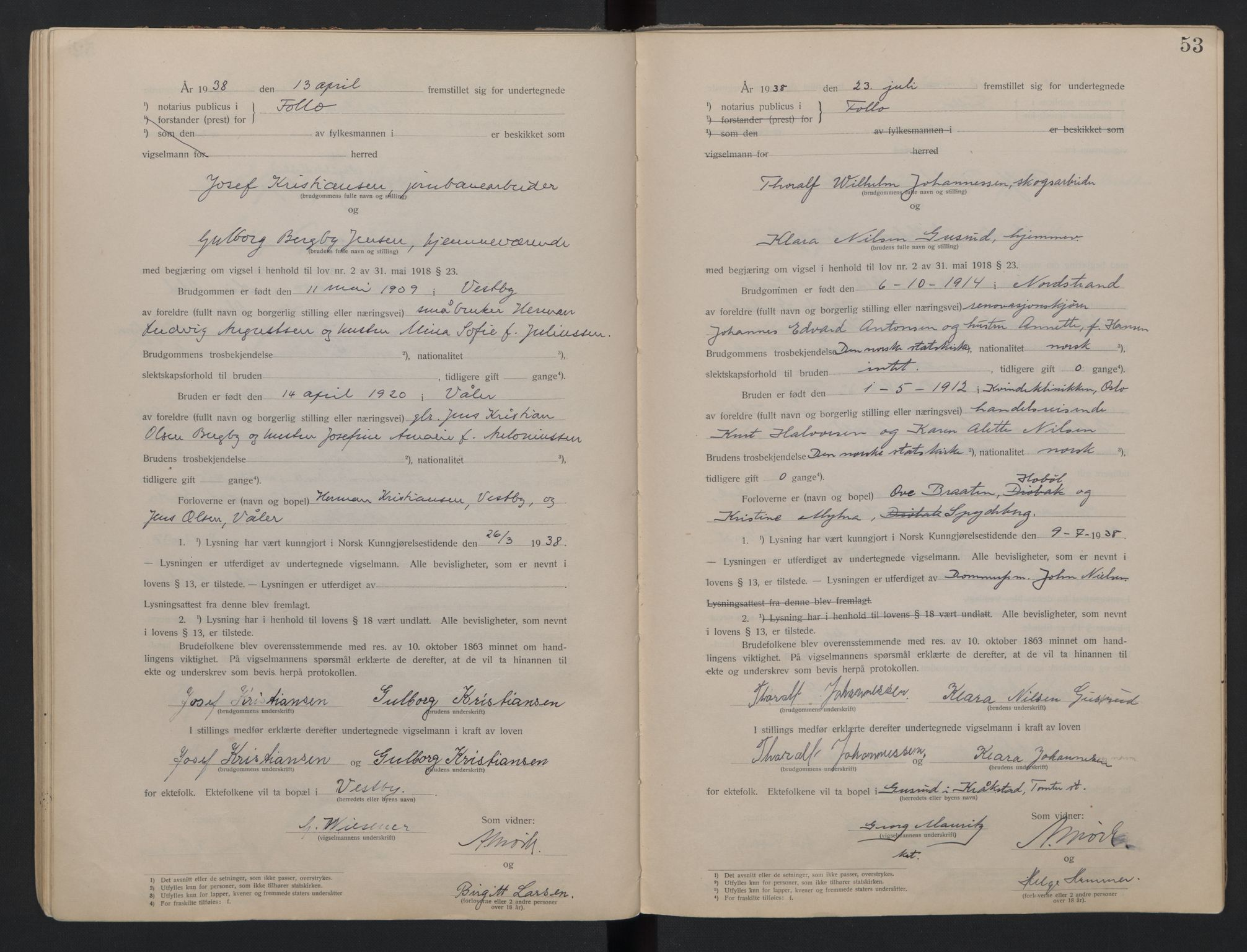 SAO, Follo sorenskriveri, L/La/Lab/L0001: Vigselsbok, 1920-1942, s. 53