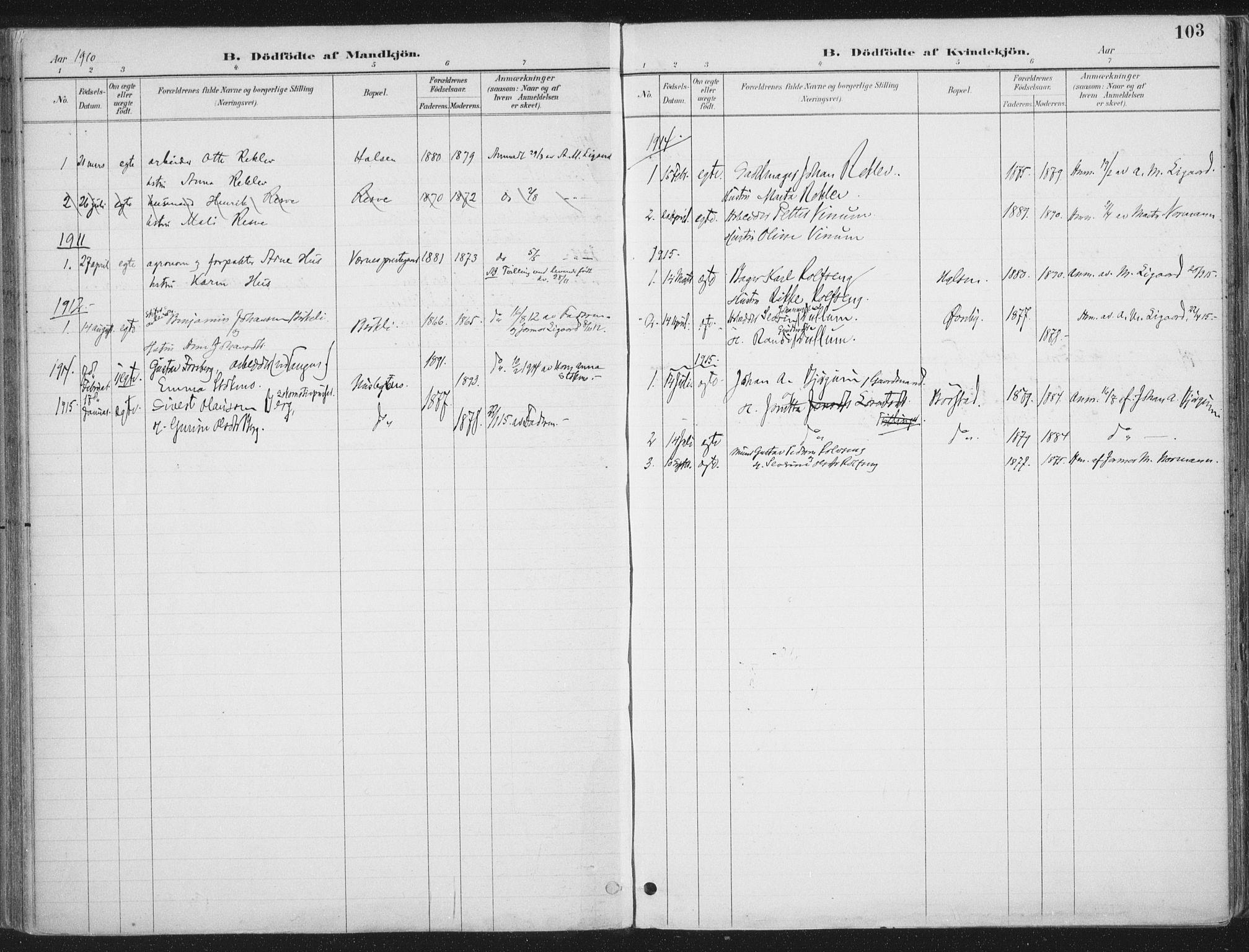 SAT, Ministerialprotokoller, klokkerbøker og fødselsregistre - Nord-Trøndelag, 709/L0082: Ministerialbok nr. 709A22, 1896-1916, s. 103