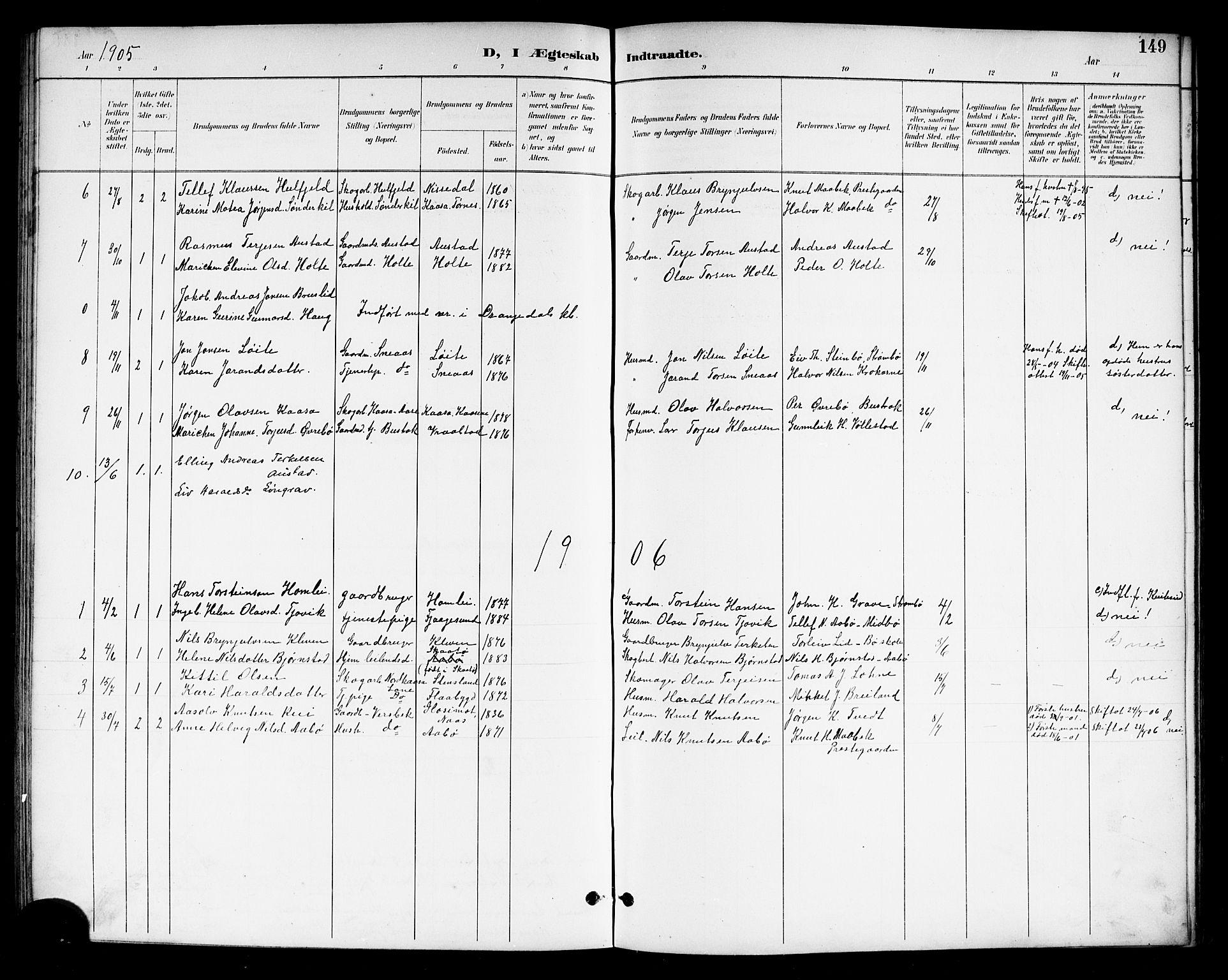 SAKO, Drangedal kirkebøker, G/Gb/L0002: Klokkerbok nr. II 2, 1895-1918, s. 149