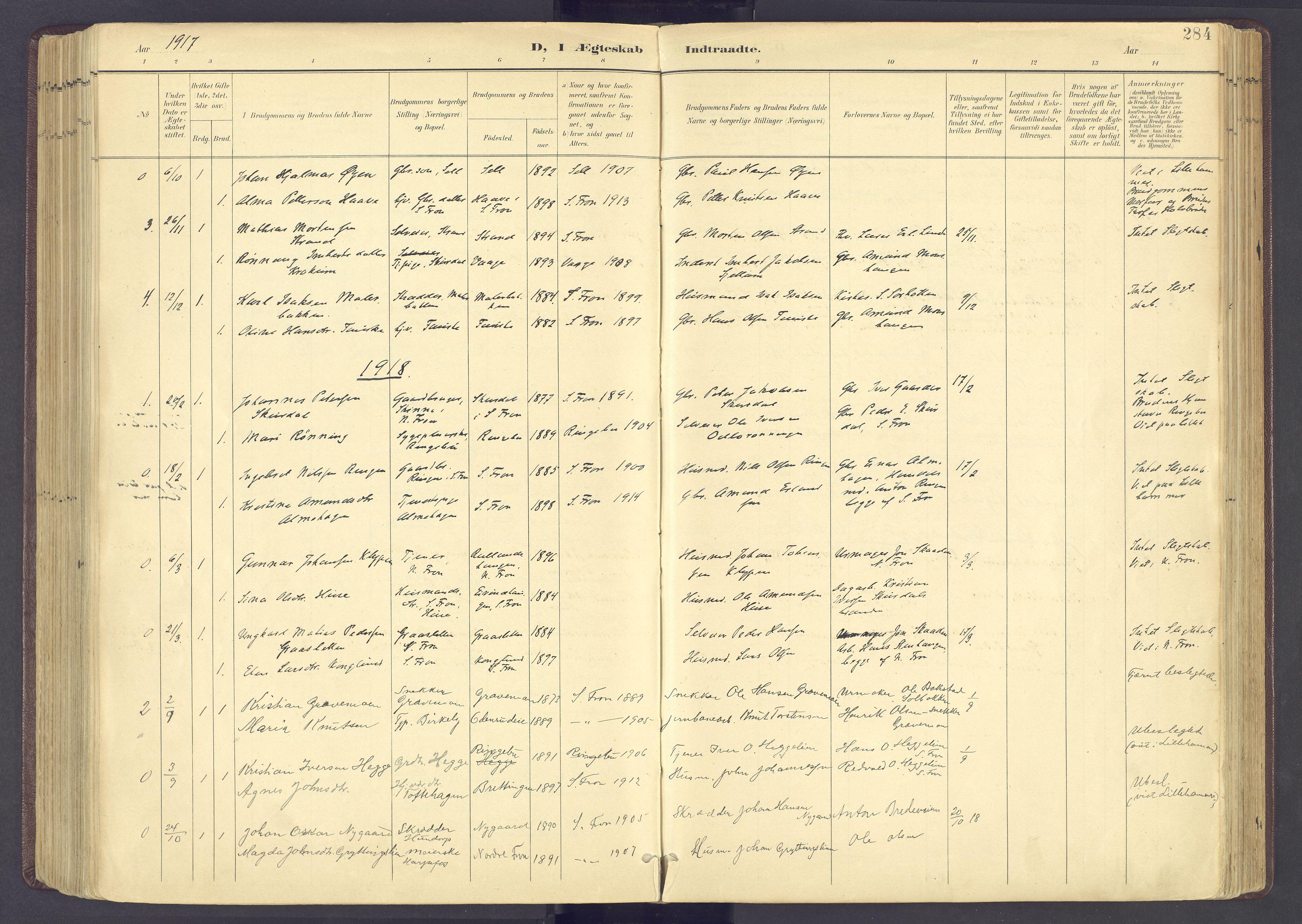 SAH, Sør-Fron prestekontor, H/Ha/Haa/L0004: Ministerialbok nr. 4, 1898-1919, s. 284