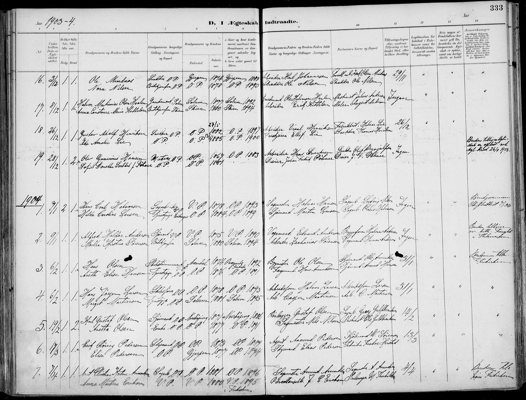 SAKO, Porsgrunn kirkebøker , F/Fa/L0011: Ministerialbok nr. 11, 1895-1919, s. 333